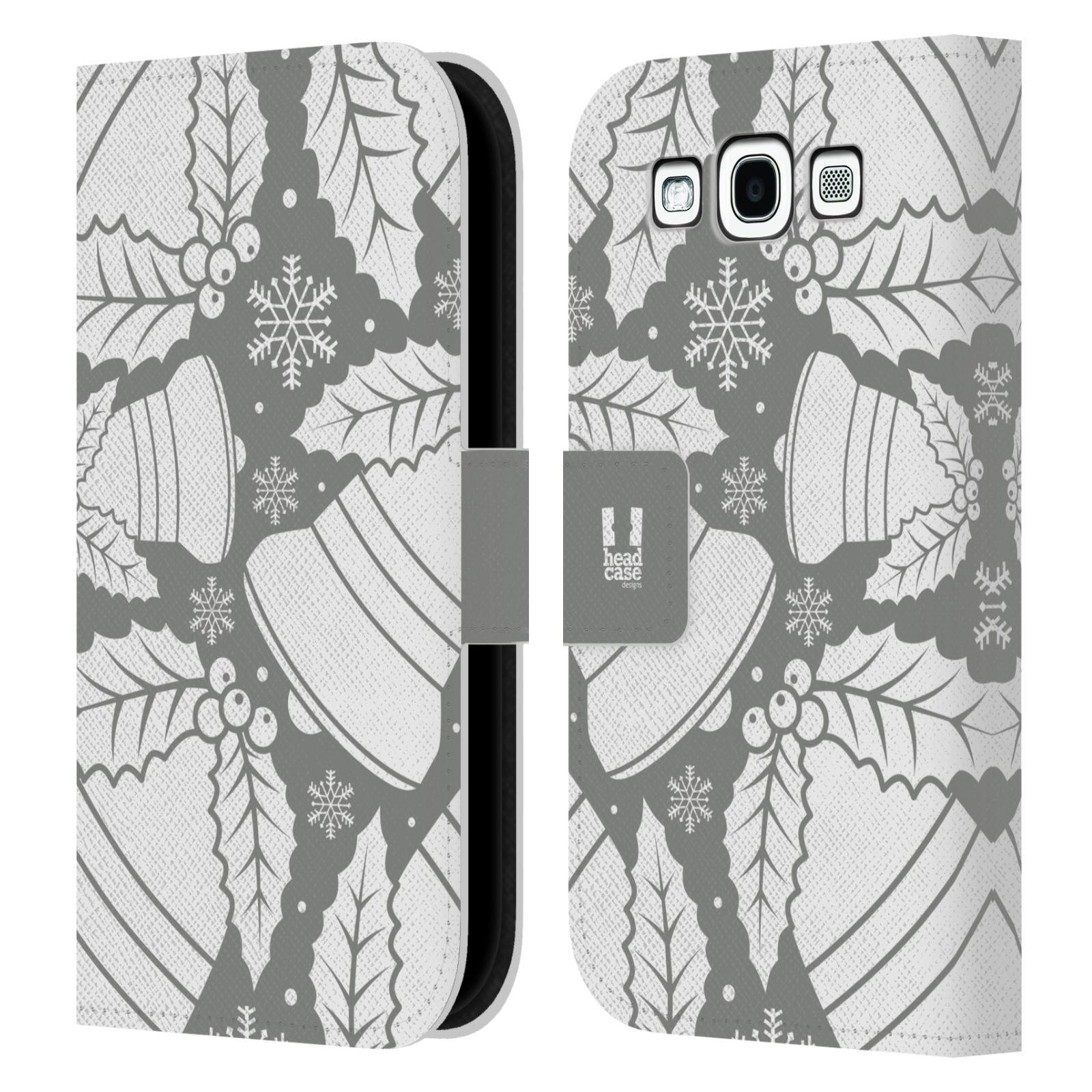 HEAD CASE Flipové pouzdro pro mobil Samsung Galaxy S3 stříbrné vzory zvonečky