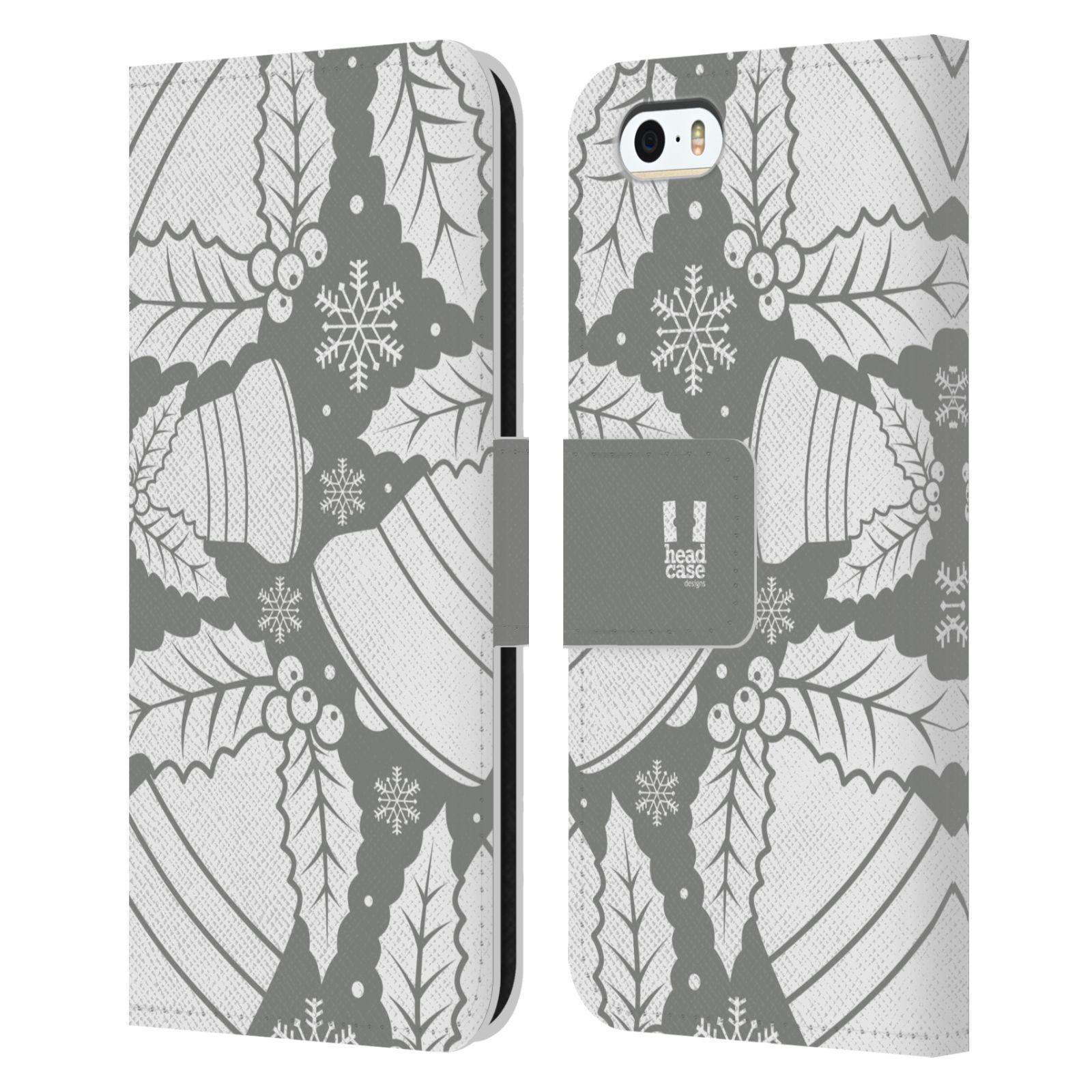 HEAD CASE Flipové pouzdro pro mobil Apple Iphone 5/5s stříbrné vzory zvonečky