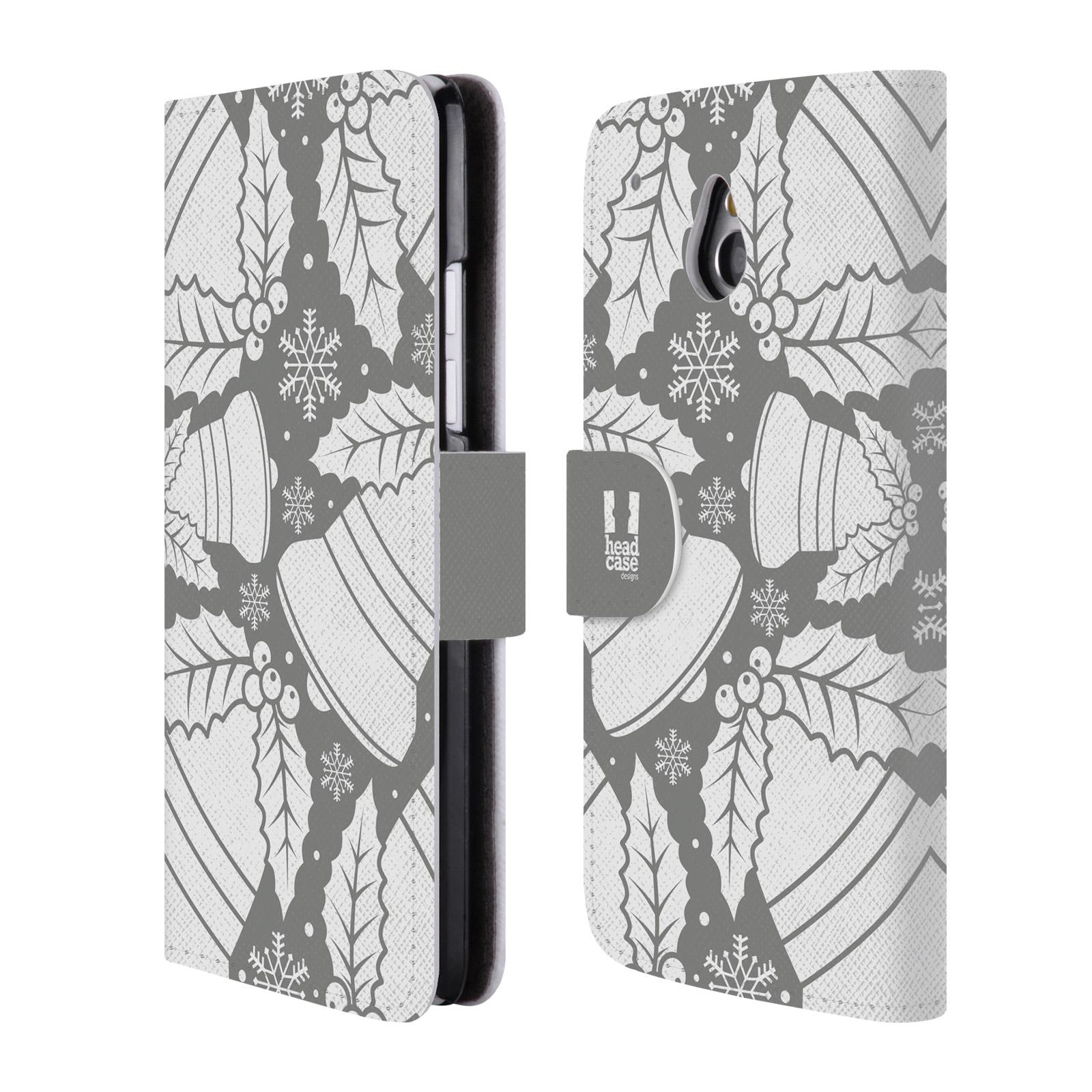 HEAD CASE Flipové pouzdro pro mobil HTC ONE MINI (M4) stříbrné vzory zvonečky