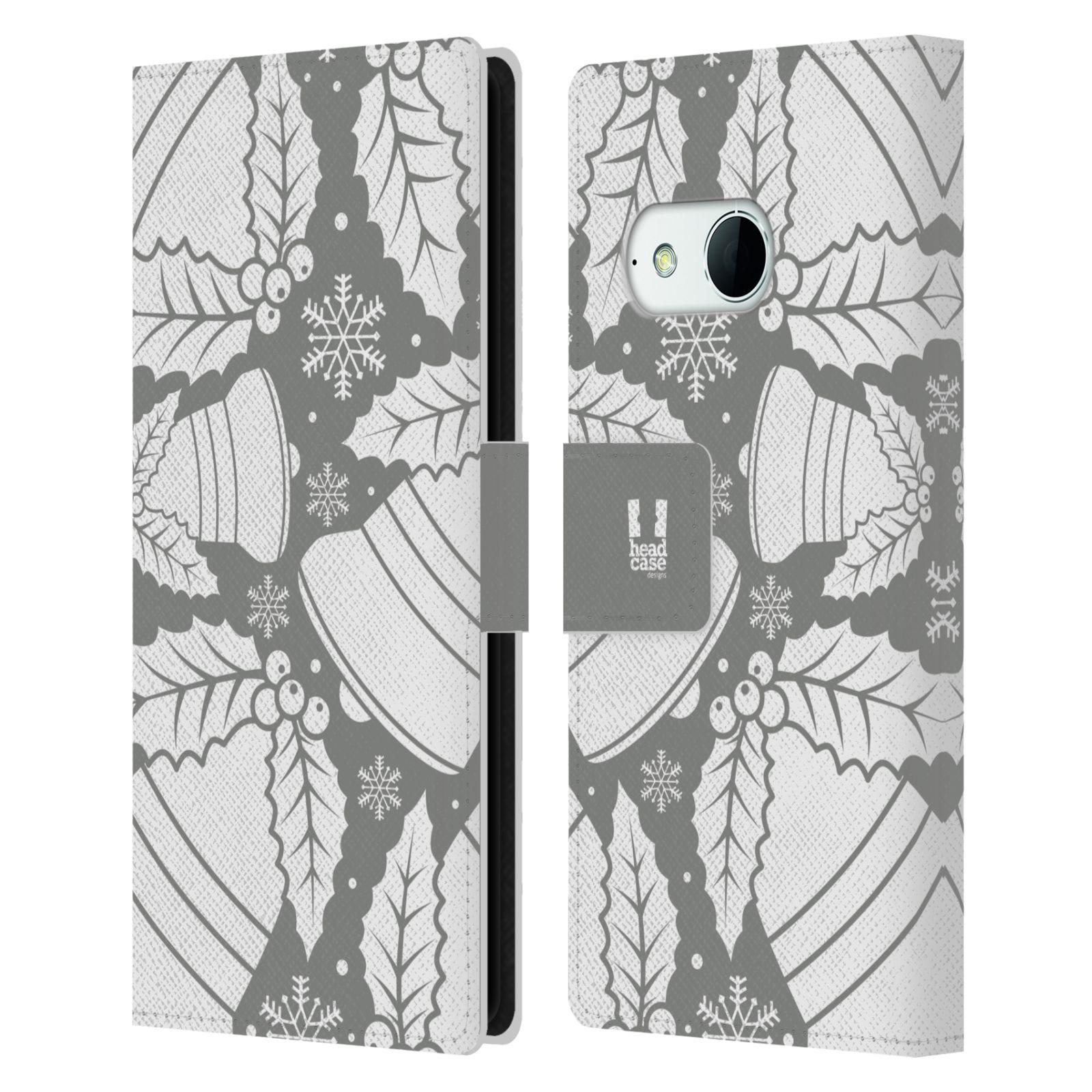 HEAD CASE Flipové pouzdro pro mobil HTC ONE MINI 2 (M8) stříbrné vzory zvonečky