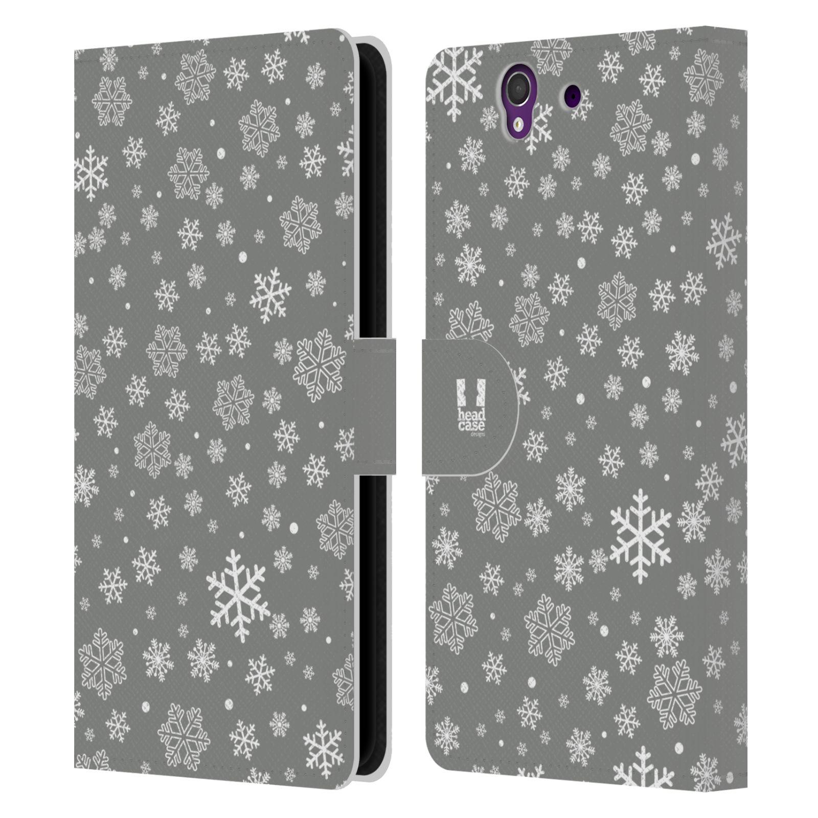 HEAD CASE Flipové pouzdro pro mobil SONY XPERIA Z (C6603) stříbrné vzory sněžná vločka