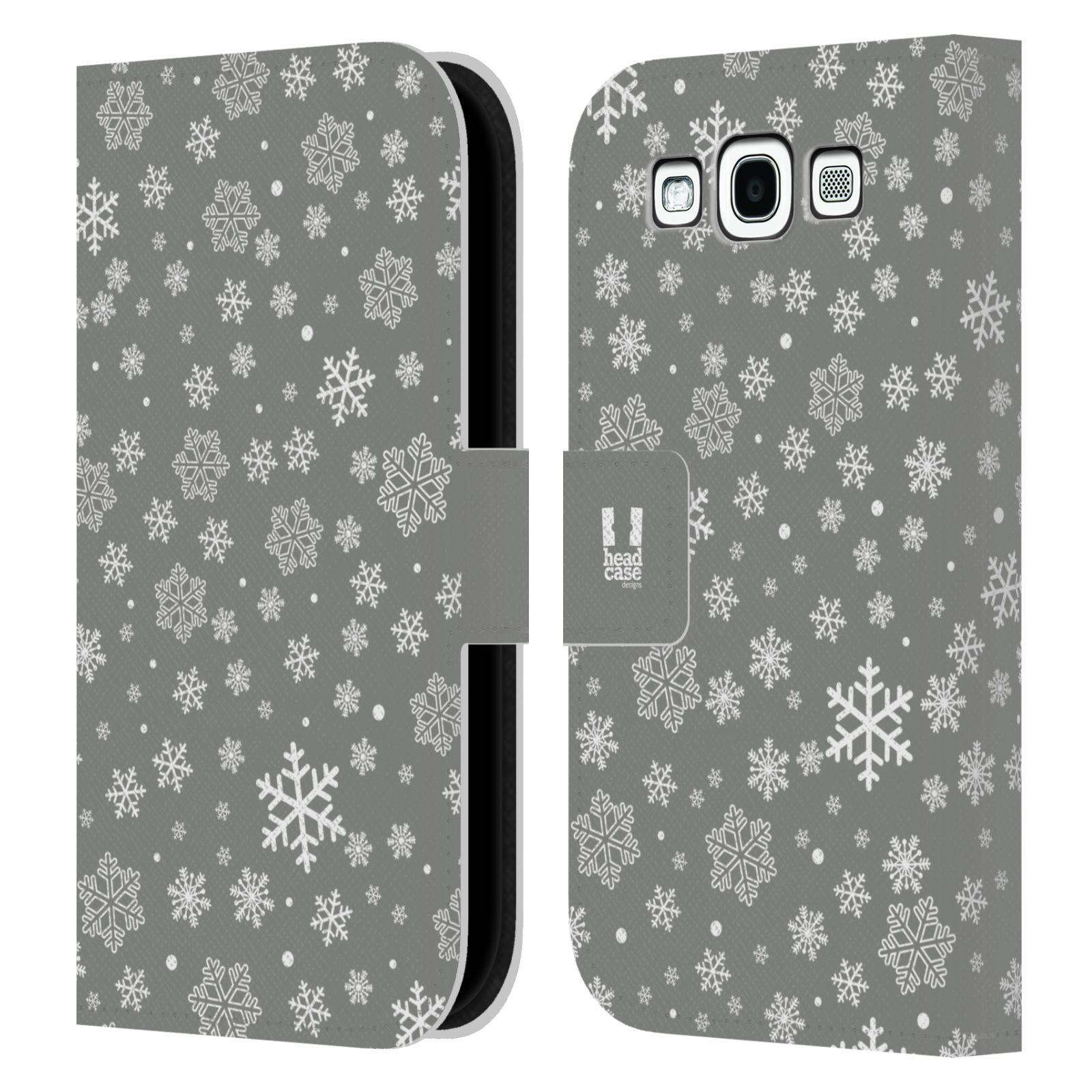 HEAD CASE Flipové pouzdro pro mobil Samsung Galaxy S3 stříbrné vzory sněžná vločka