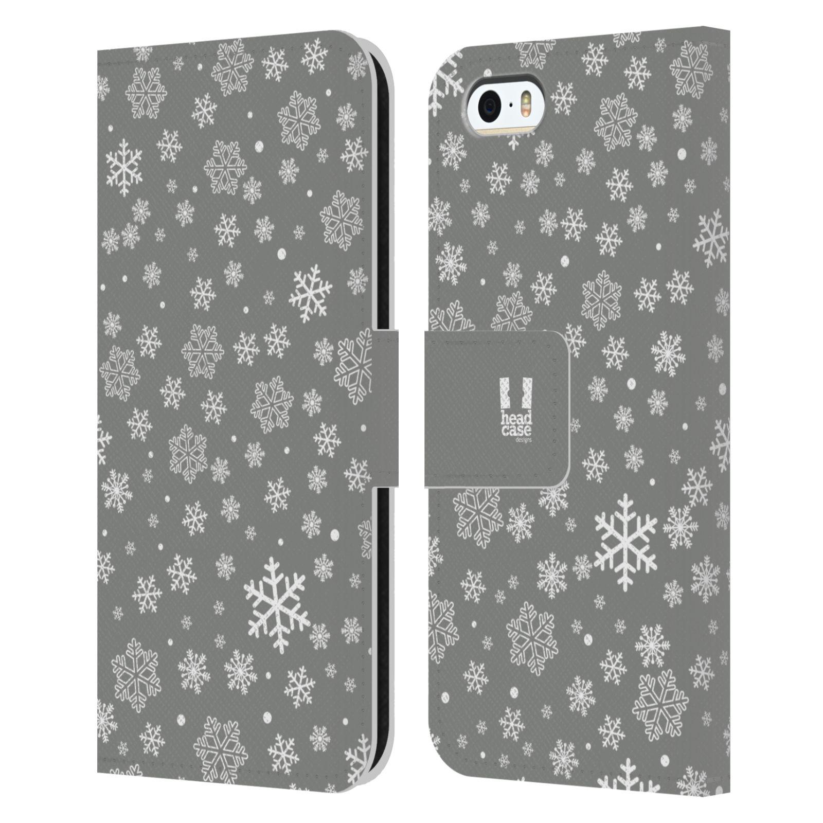 HEAD CASE Flipové pouzdro pro mobil Apple Iphone 5/5s stříbrné vzory sněžná vločka