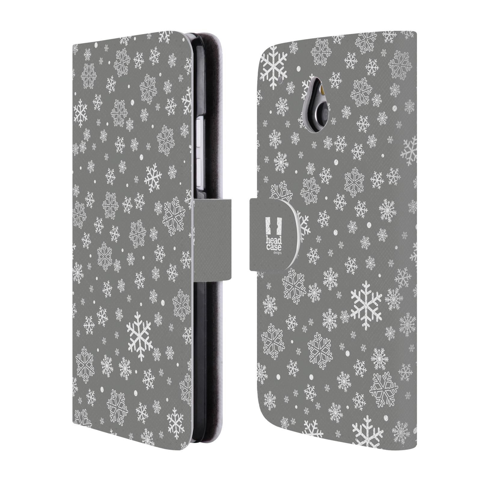 HEAD CASE Flipové pouzdro pro mobil HTC ONE MINI (M4) stříbrné vzory sněžná vločka