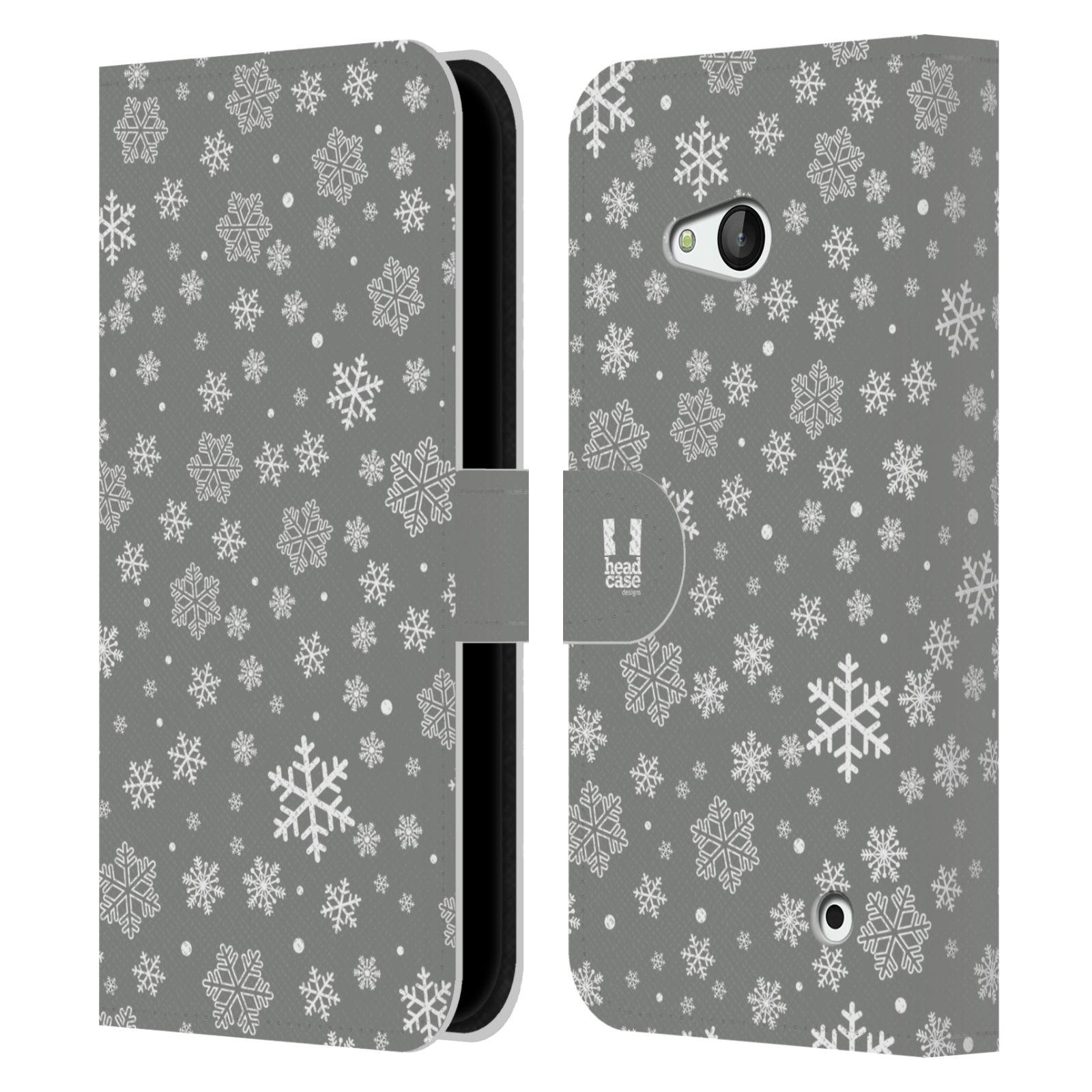 HEAD CASE Flipové pouzdro pro mobil NOKIA / MICROSOFT LUMIA 640 / LUMIA 640 DUAL stříbrné vzory sněžná vločka