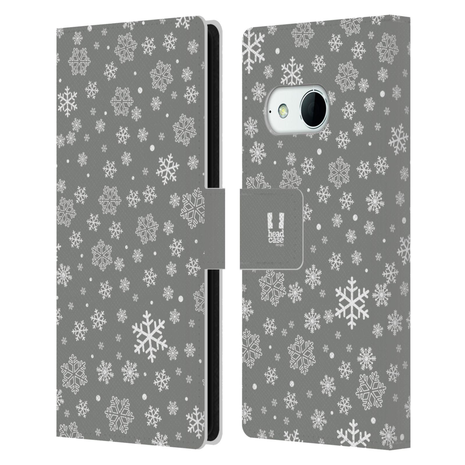 HEAD CASE Flipové pouzdro pro mobil HTC ONE MINI 2 (M8) stříbrné vzory sněžná vločka