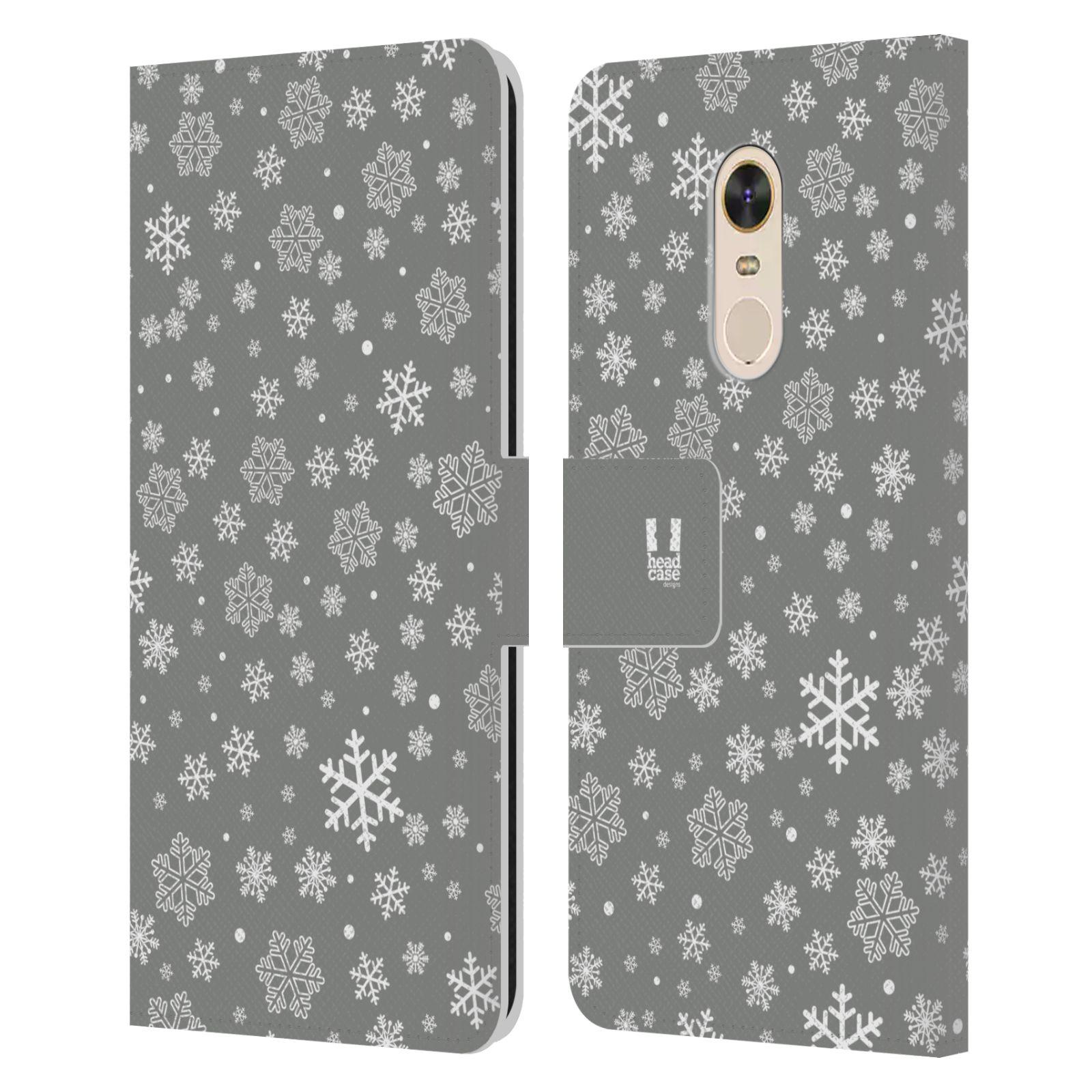 HEAD CASE Flipové pouzdro pro mobil Xiaomi Redmi Note 5 stříbrné vzory sněžná vločka