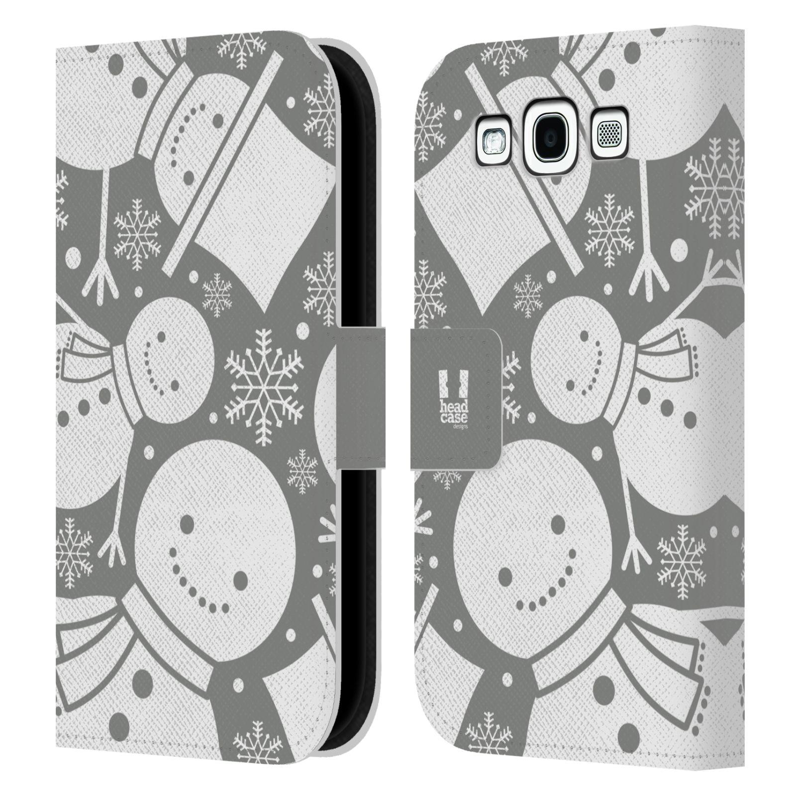 HEAD CASE Flipové pouzdro pro mobil Samsung Galaxy S3 stříbrné vzory sněhulák