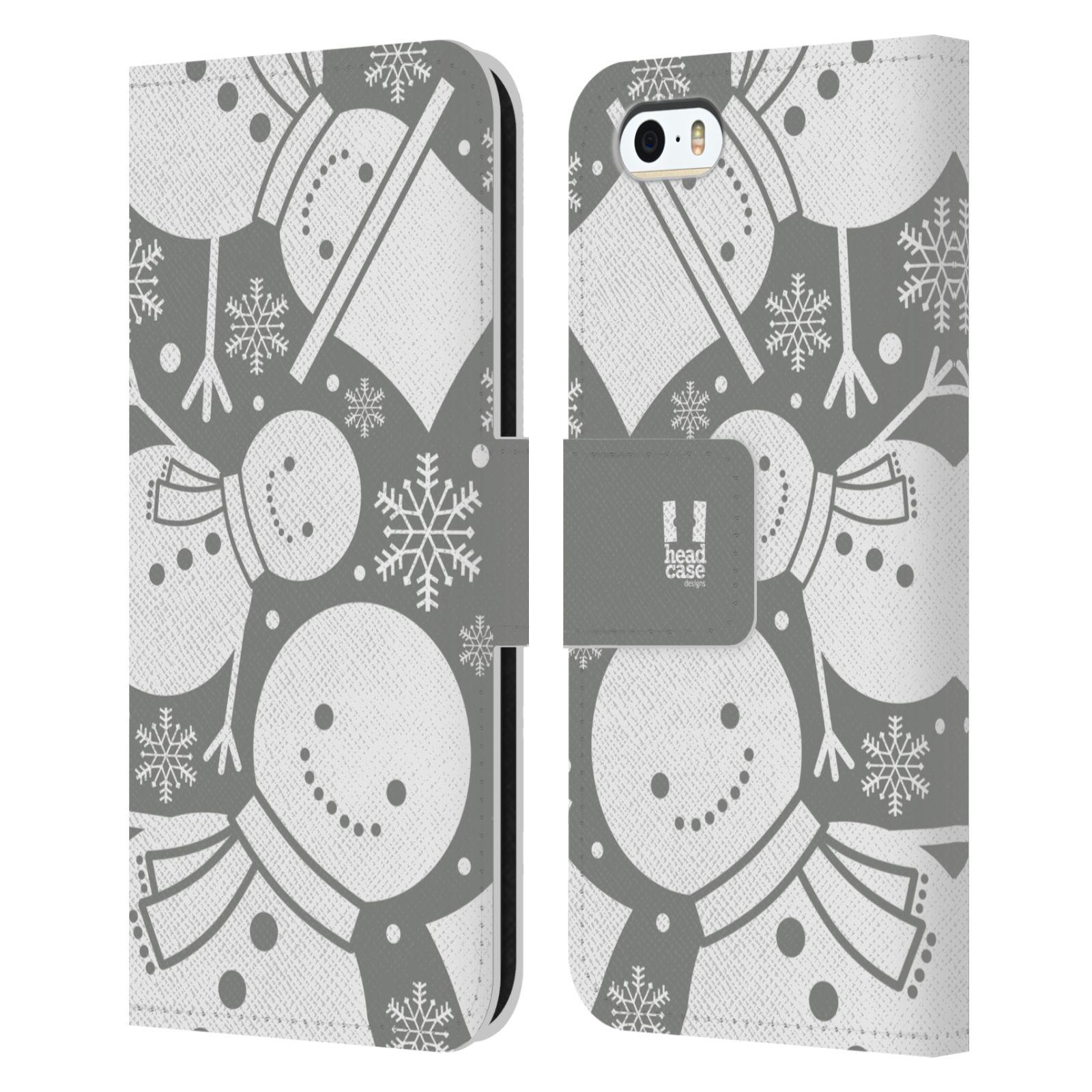HEAD CASE Flipové pouzdro pro mobil Apple Iphone 5/5s stříbrné vzory sněhulák
