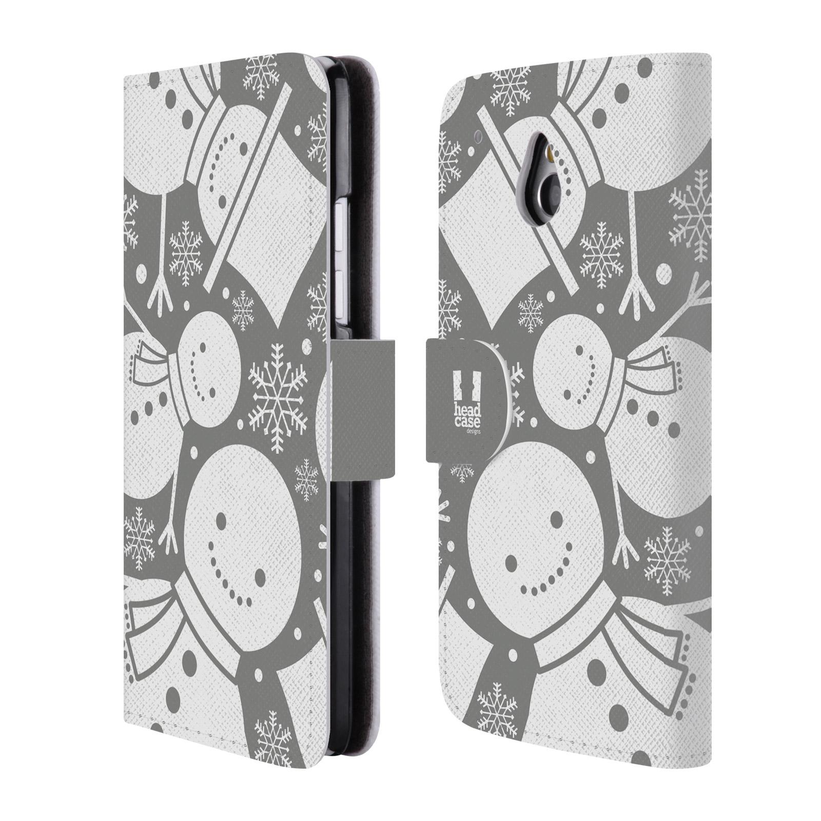 HEAD CASE Flipové pouzdro pro mobil HTC ONE MINI (M4) stříbrné vzory sněhulák