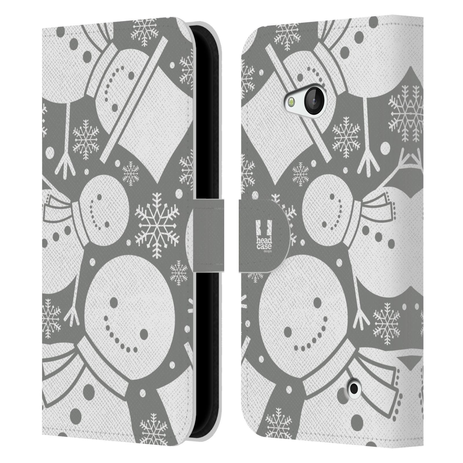 HEAD CASE Flipové pouzdro pro mobil NOKIA / MICROSOFT LUMIA 640 / LUMIA 640 DUAL stříbrné vzory sněhulák