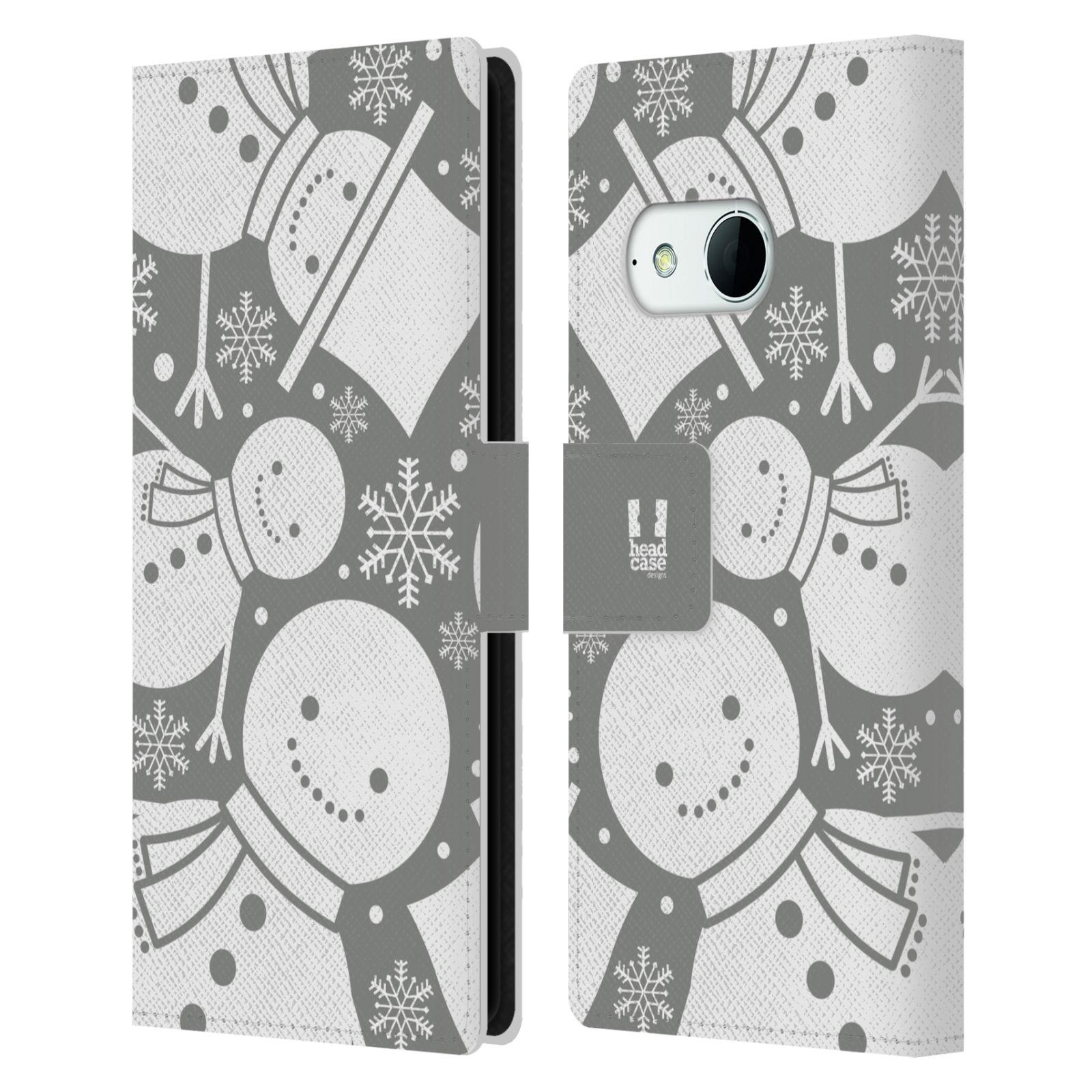HEAD CASE Flipové pouzdro pro mobil HTC ONE MINI 2 (M8) stříbrné vzory sněhulák