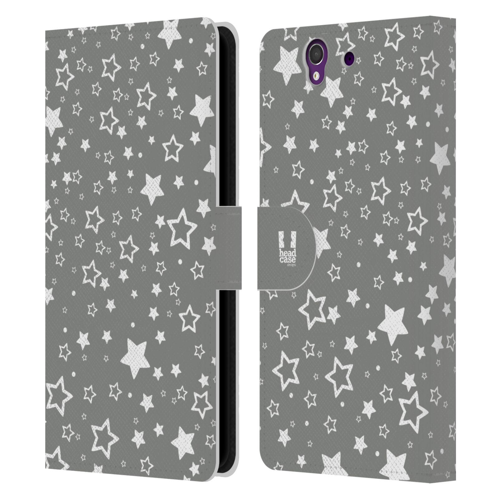 HEAD CASE Flipové pouzdro pro mobil SONY XPERIA Z (C6603) stříbrné vzory hvezdičky