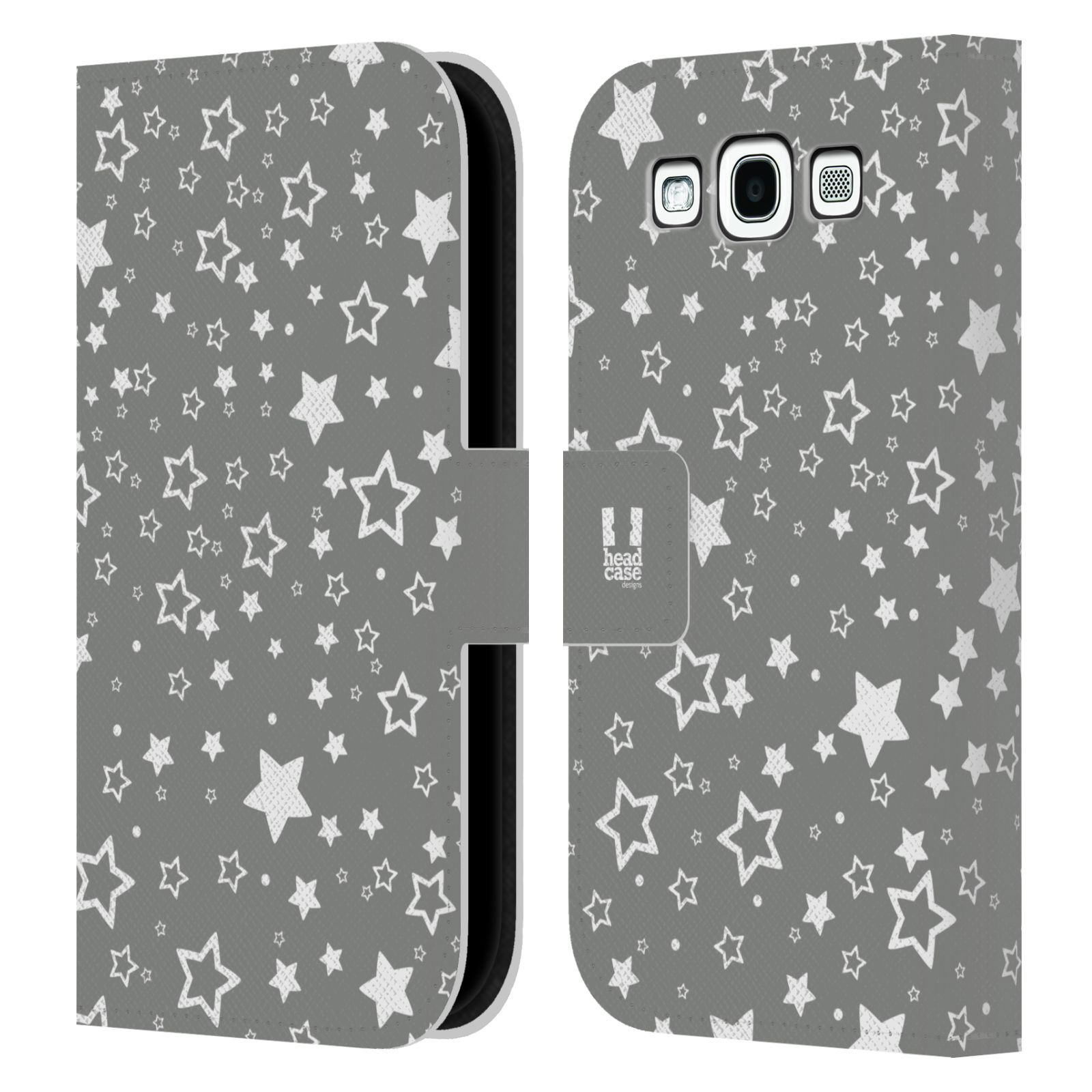 HEAD CASE Flipové pouzdro pro mobil Samsung Galaxy S3 stříbrné vzory hvezdičky