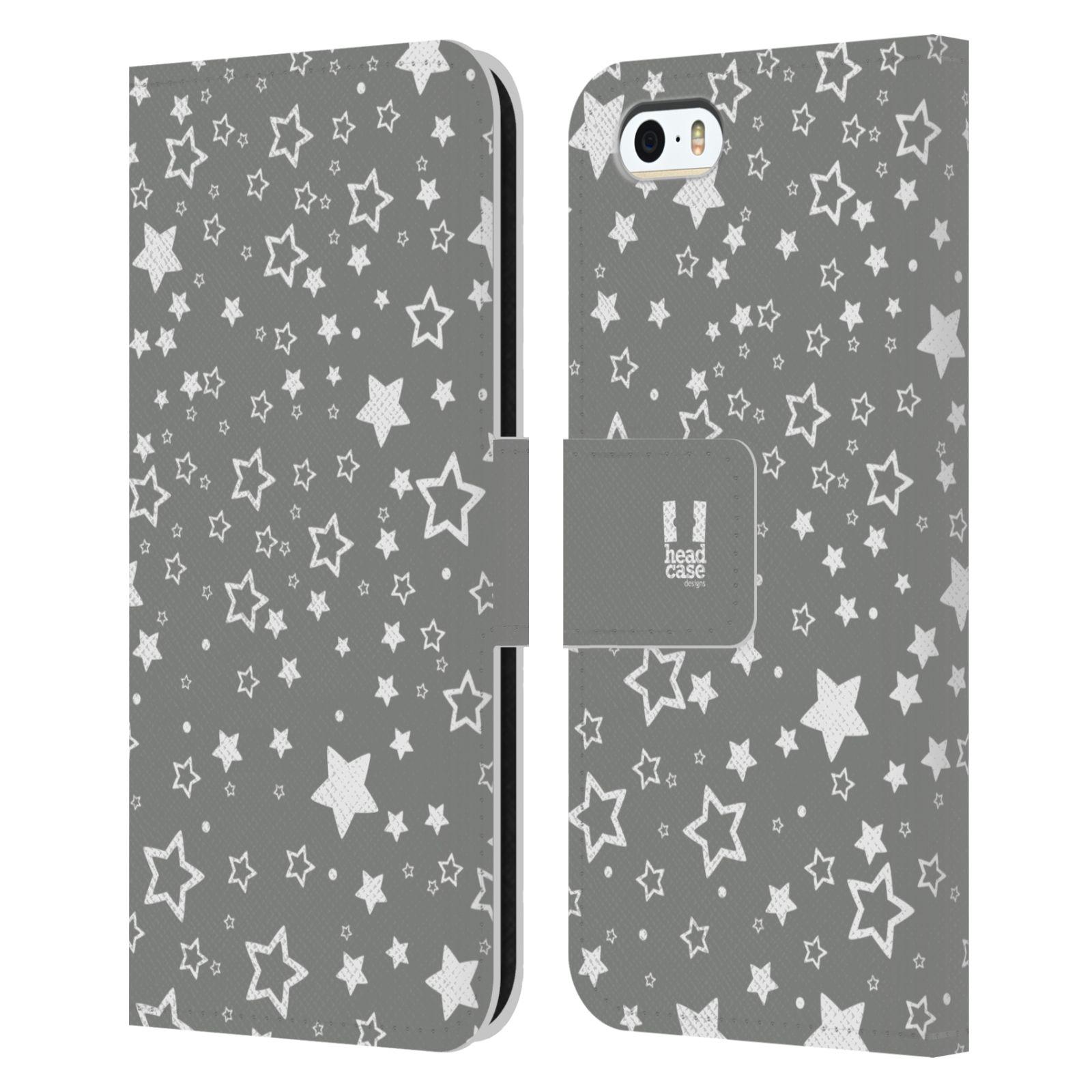 HEAD CASE Flipové pouzdro pro mobil Apple Iphone 5/5s stříbrné vzory hvezdičky