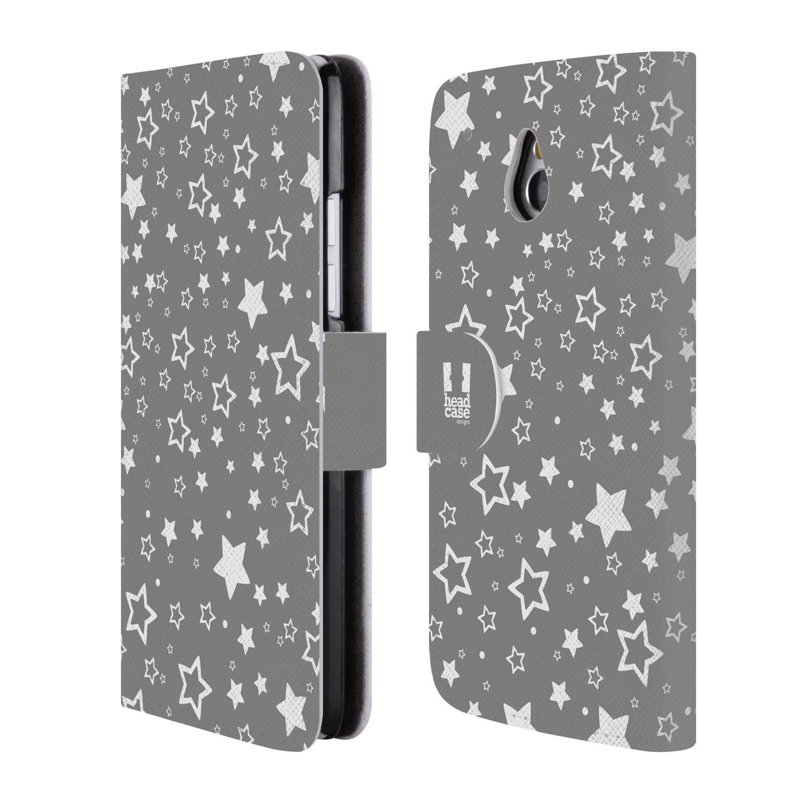 HEAD CASE Flipové pouzdro pro mobil HTC ONE MINI (M4) stříbrné vzory hvezdičky