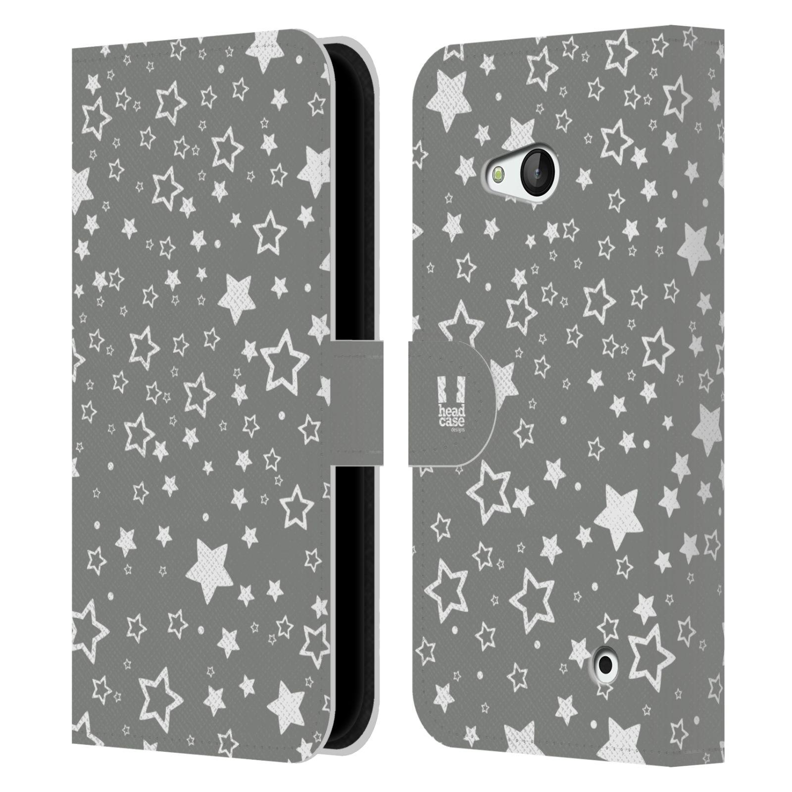 HEAD CASE Flipové pouzdro pro mobil NOKIA / MICROSOFT LUMIA 640 / LUMIA 640 DUAL stříbrné vzory hvezdičky