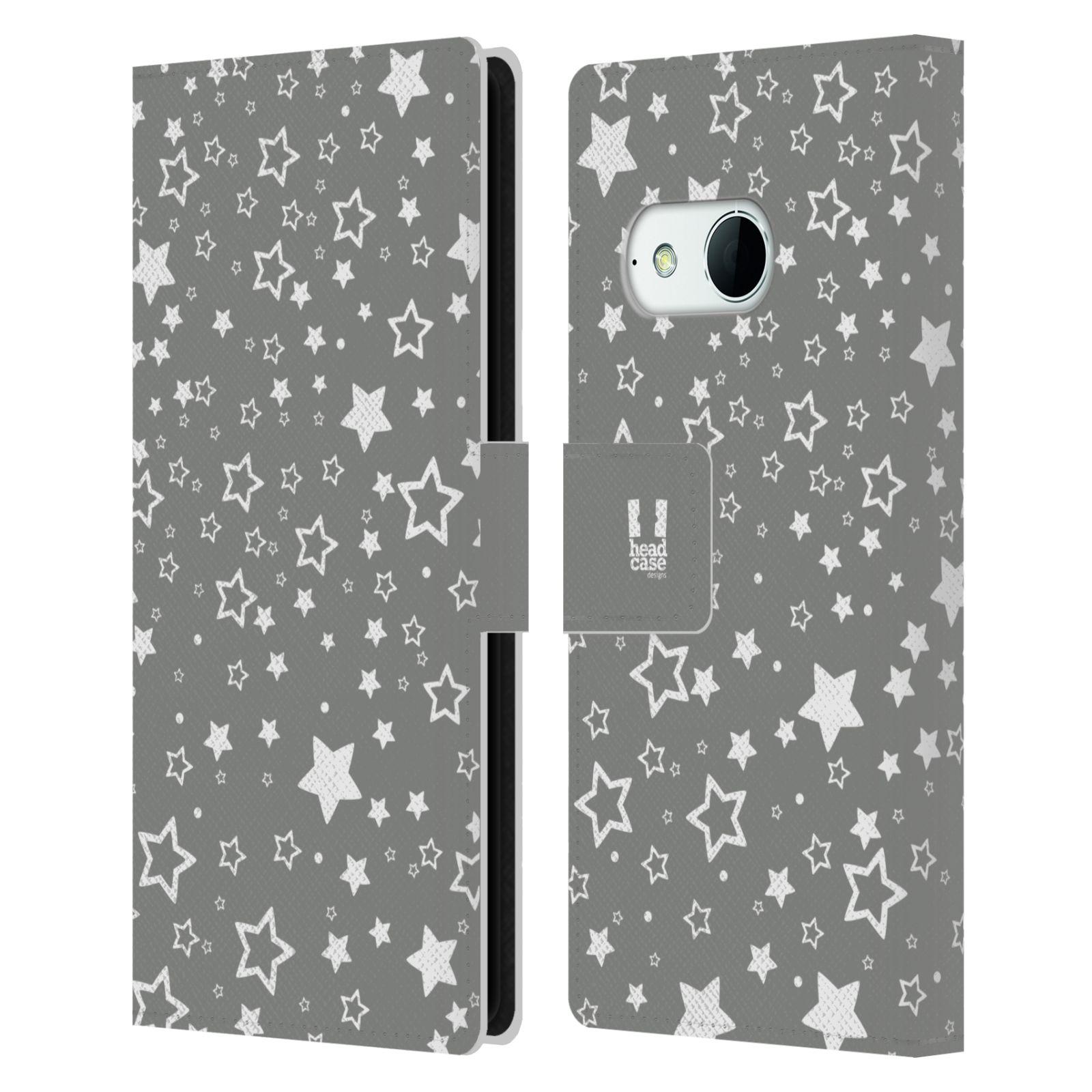 HEAD CASE Flipové pouzdro pro mobil HTC ONE MINI 2 (M8) stříbrné vzory hvezdičky