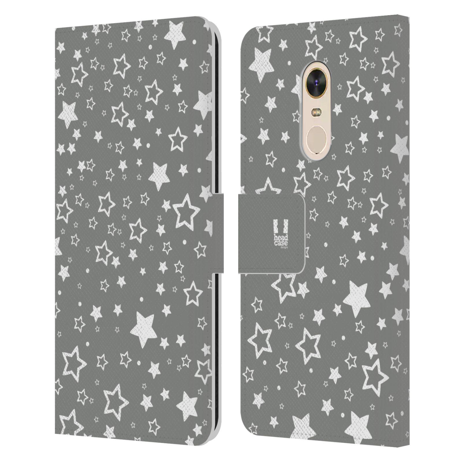 HEAD CASE Flipové pouzdro pro mobil Xiaomi Redmi Note 5 stříbrné vzory hvezdičky