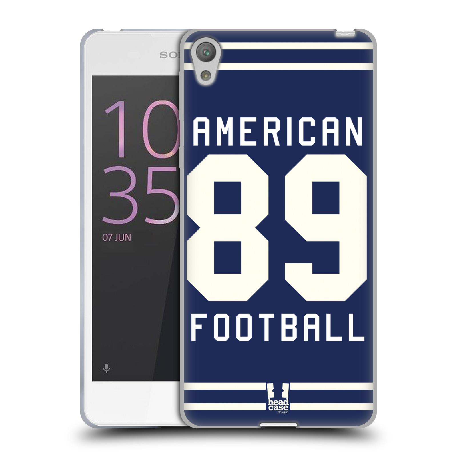 HEAD CASE silikonový obal na mobil Sony Xperia E5 Sportovní dres modrý Americký Fotbal