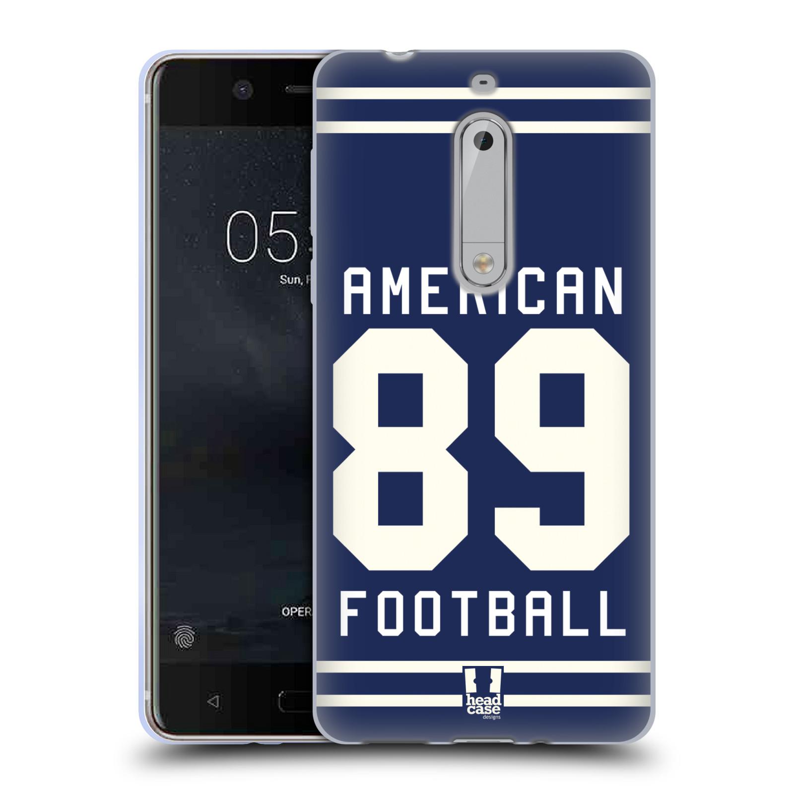 HEAD CASE silikonový obal na mobil Nokia 5 Sportovní dres modrý Americký Fotbal