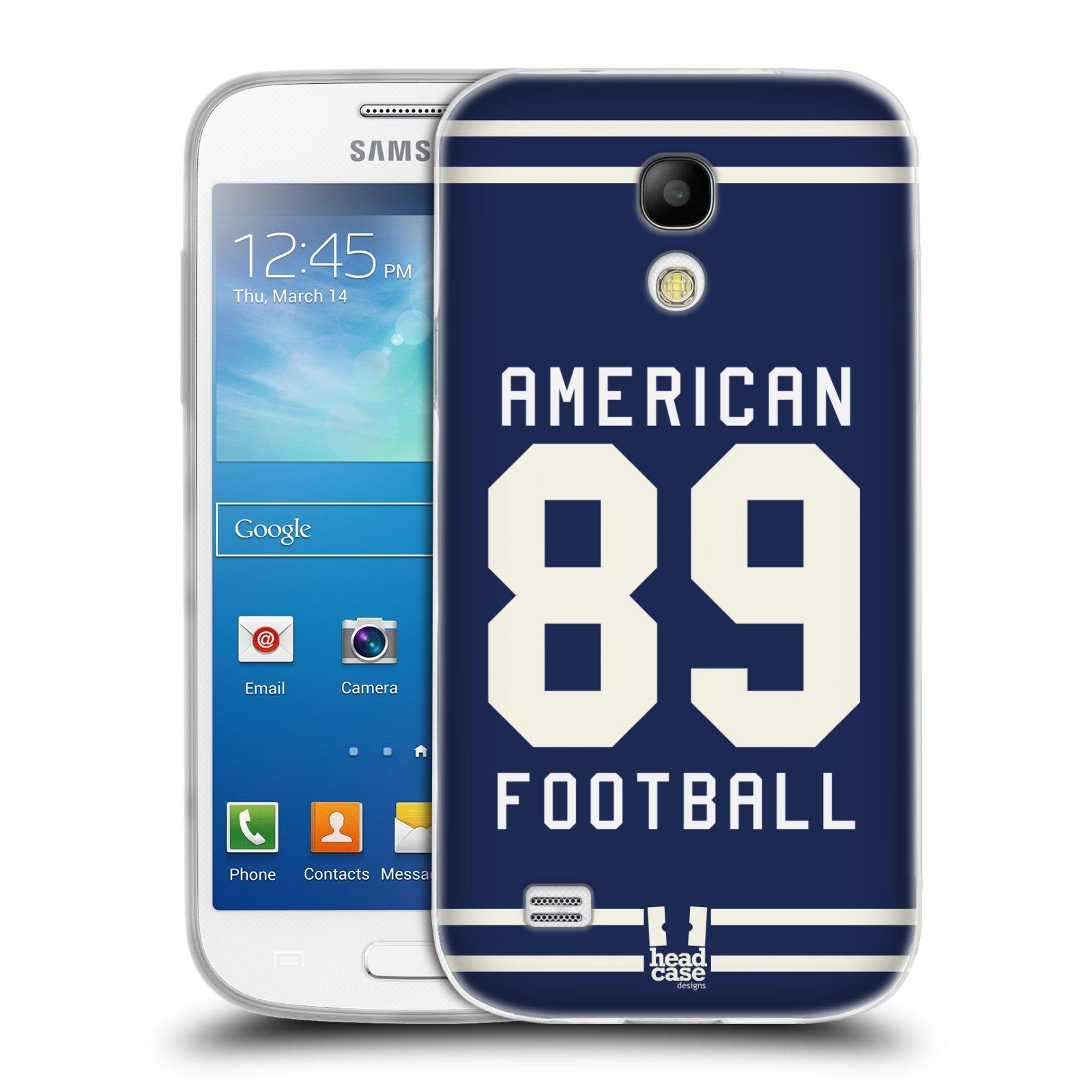 HEAD CASE silikonový obal na mobil Samsung Galaxy S4 MINI Sportovní dres modrý Americký Fotbal