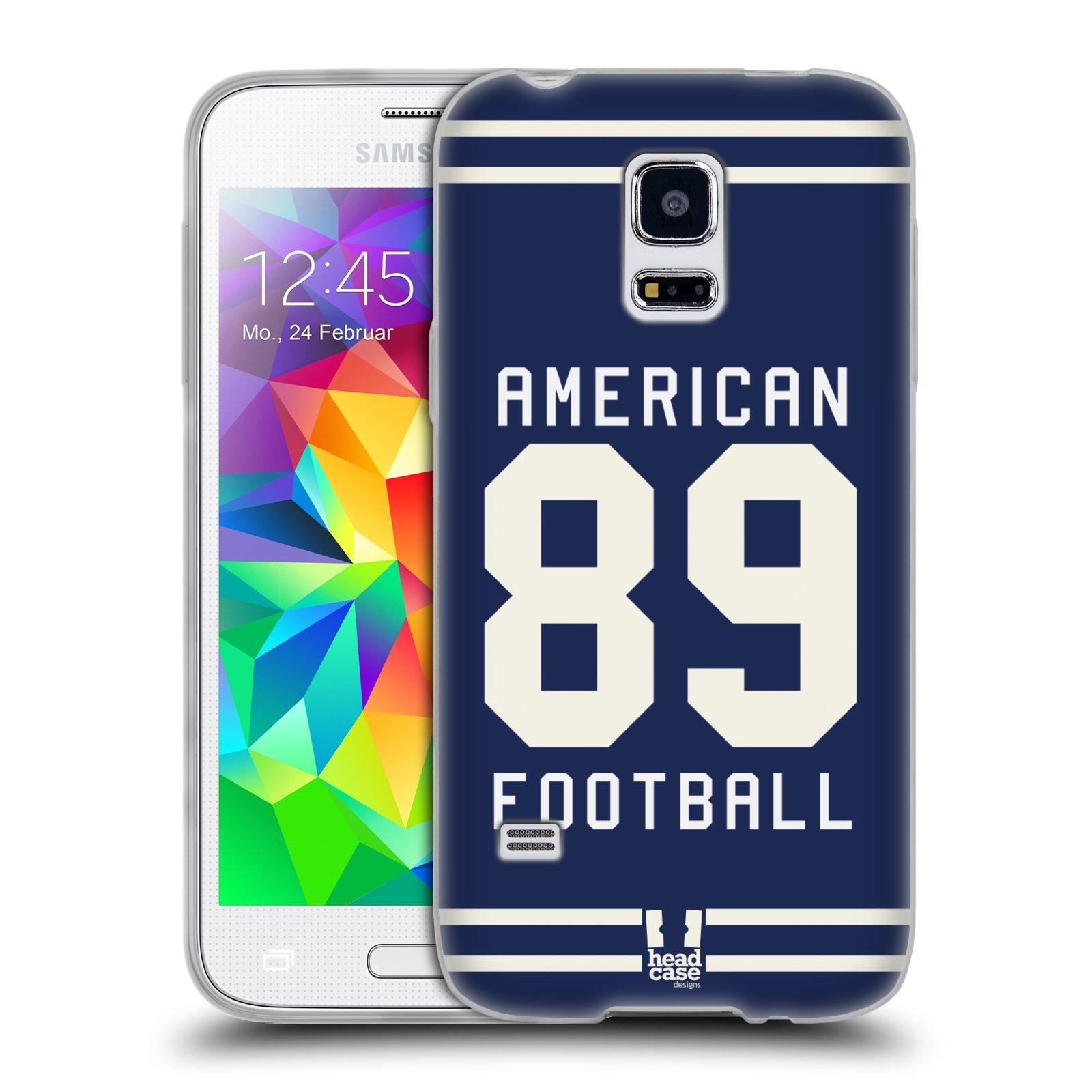 HEAD CASE silikonový obal na mobil Samsung Galaxy S5 MINI Sportovní dres modrý Americký Fotbal