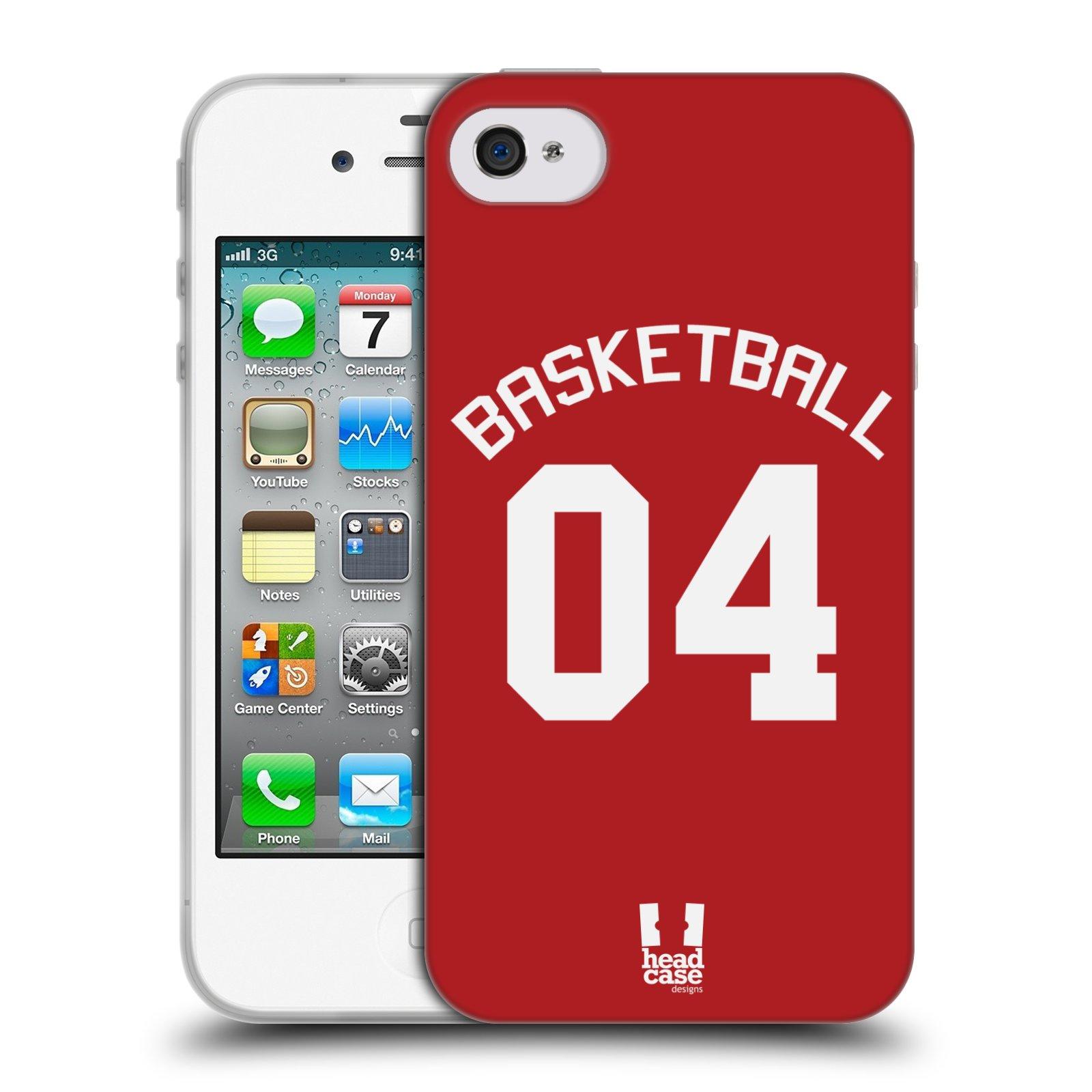 HEAD CASE silikonový obal na mobil Apple Iphone 4/4S Sportovní dres Basketbal červený