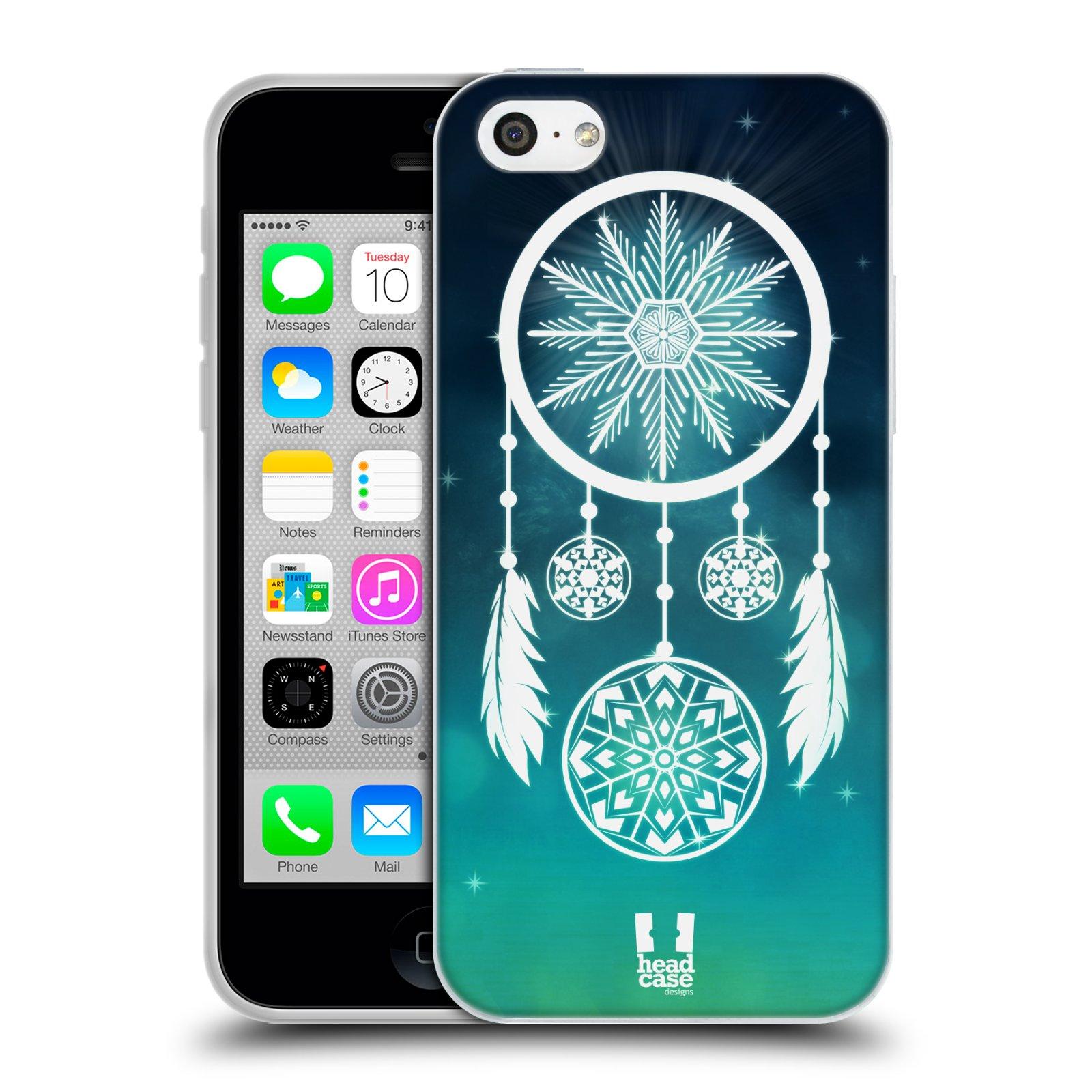 HEAD CASE silikonový obal na mobil Apple Iphone 5C vzor Sněžné vločky modrá lapač snů