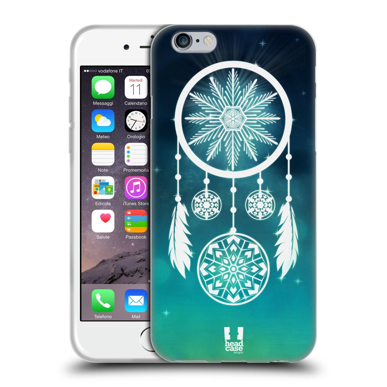 HEAD CASE silikonový obal na mobil Apple Iphone 6/6S vzor Sněžné vločky modrá lapač snů