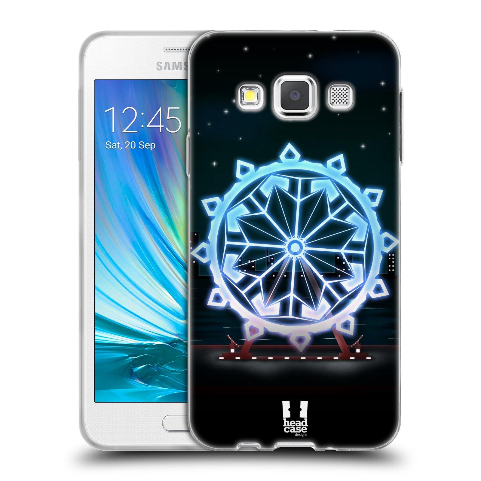 HEAD CASE silikonový obal na mobil Samsung Galaxy A3 vzor Sněžné vločky modrá kolo