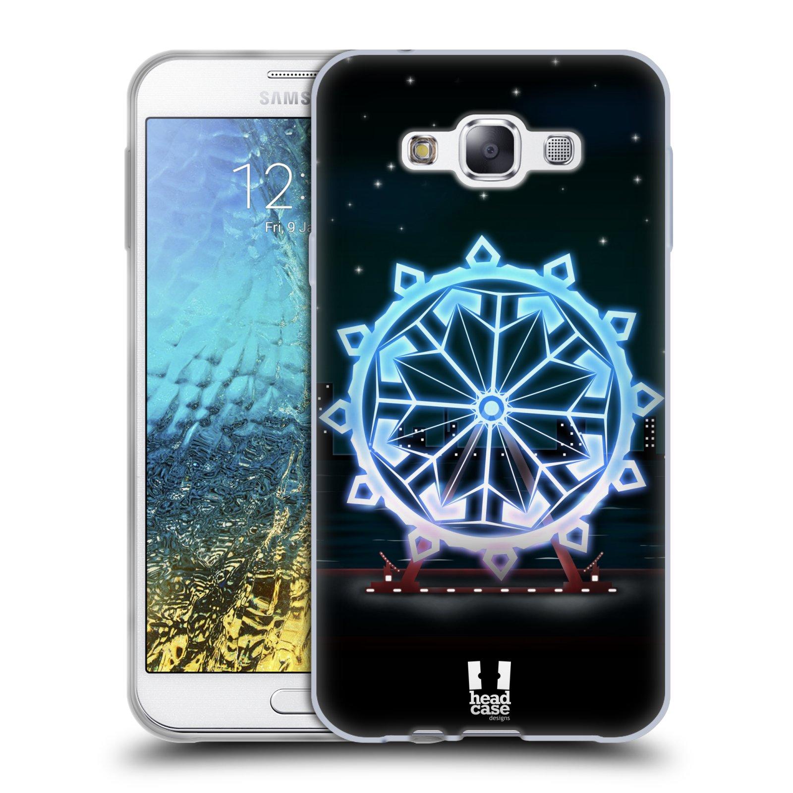 HEAD CASE silikonový obal na mobil Samsung Galaxy E7 vzor Sněžné vločky modrá kolo