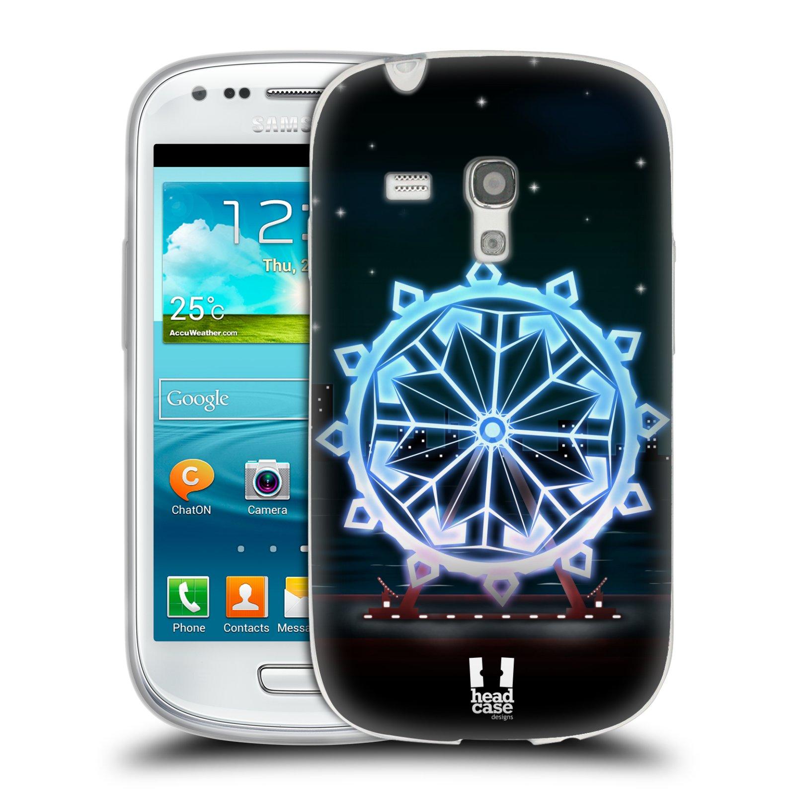 HEAD CASE silikonový obal na mobil Samsung Galaxy S3 MINI i8190 vzor Sněžné vločky modrá kolo