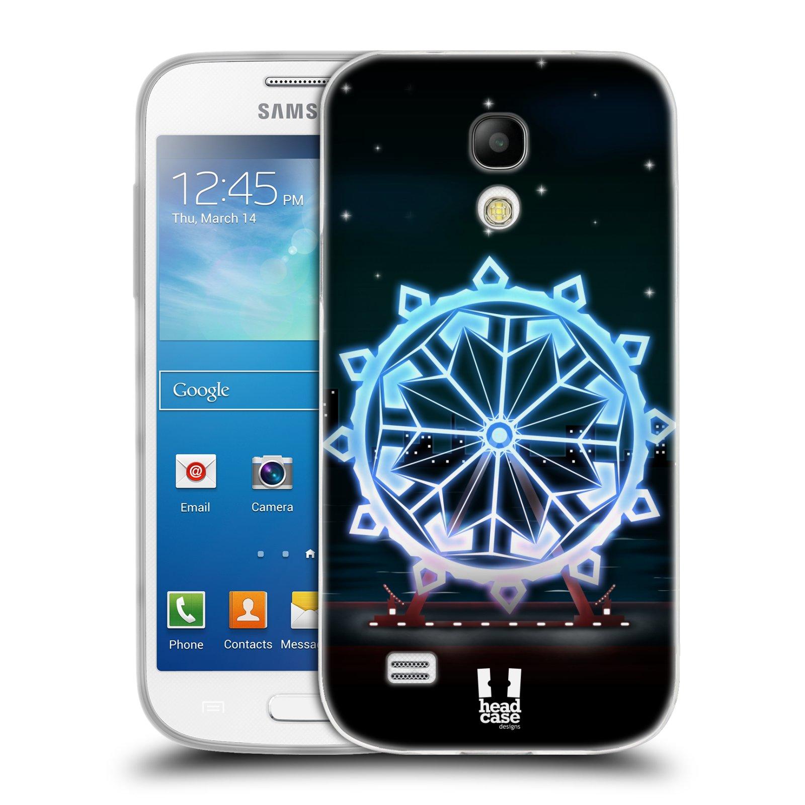 HEAD CASE silikonový obal na mobil Samsung Galaxy S4 MINI vzor Sněžné vločky modrá kolo