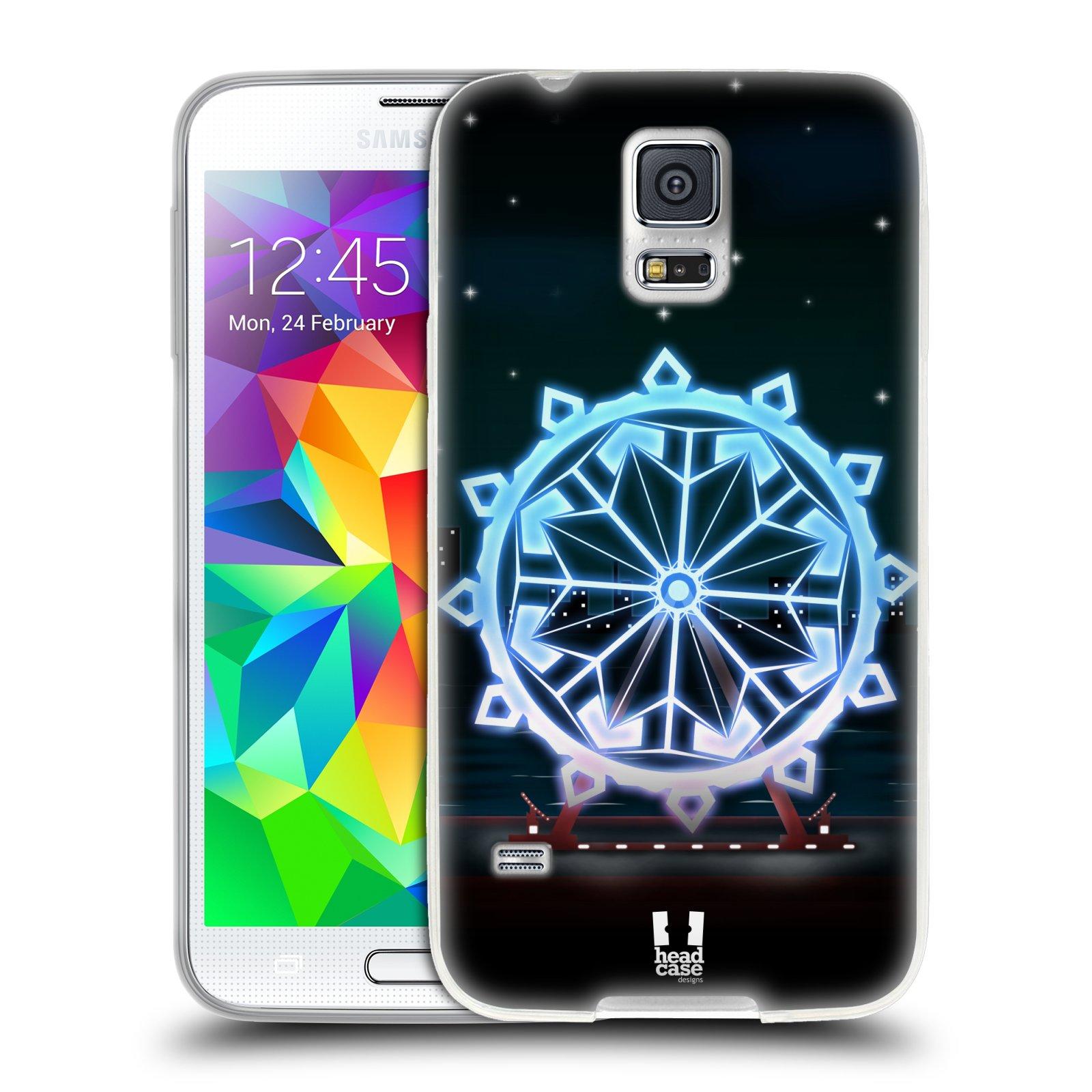 HEAD CASE silikonový obal na mobil Samsung Galaxy S5/S5 NEO vzor Sněžné vločky modrá kolo