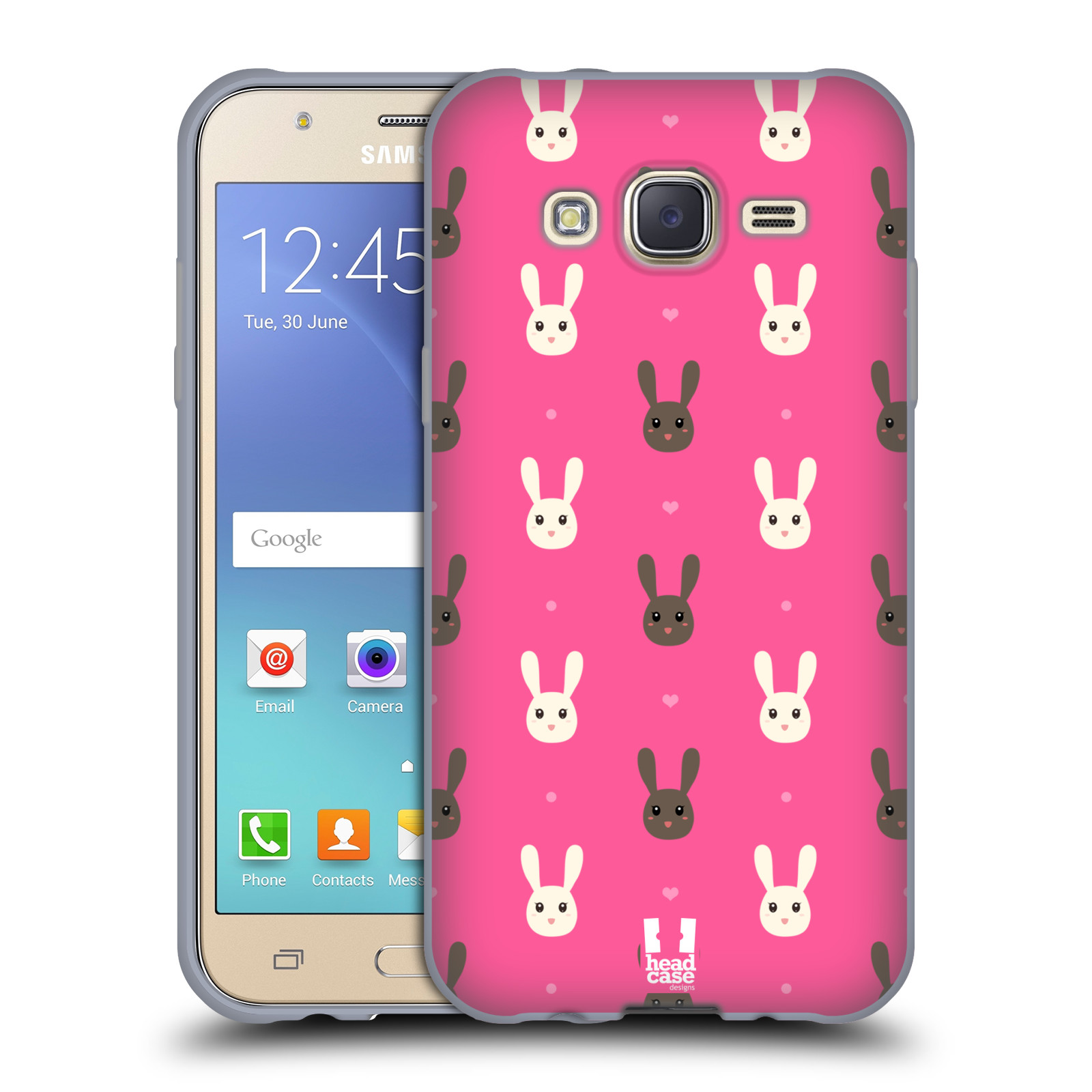 HEAD CASE silikonový obal na mobil Samsung Galaxy J5, J500, (J5 DUOS) vzor Barevní zajíčci RŮŽOVÁ hnědý a bílý králíček