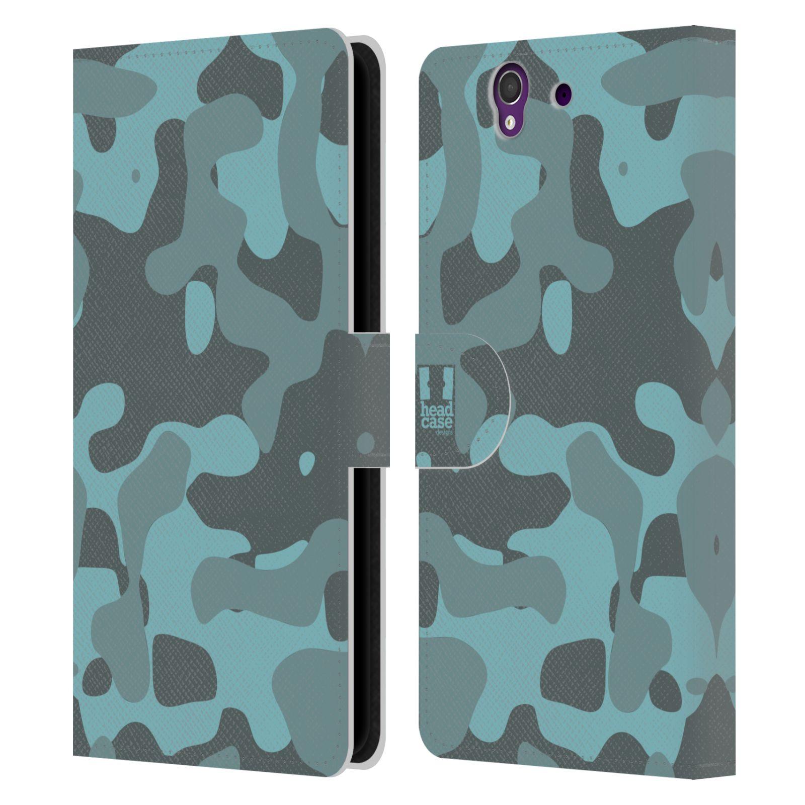 HEAD CASE Flipové pouzdro pro mobil SONY XPERIA Z (C6603) lehká barevná kamufláž modrá
