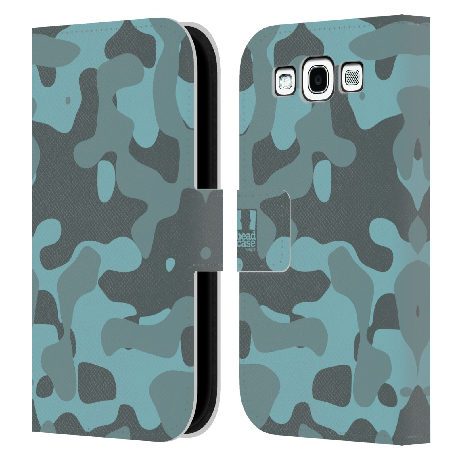 HEAD CASE Flipové pouzdro pro mobil Samsung Galaxy S3 lehká barevná kamufláž modrá