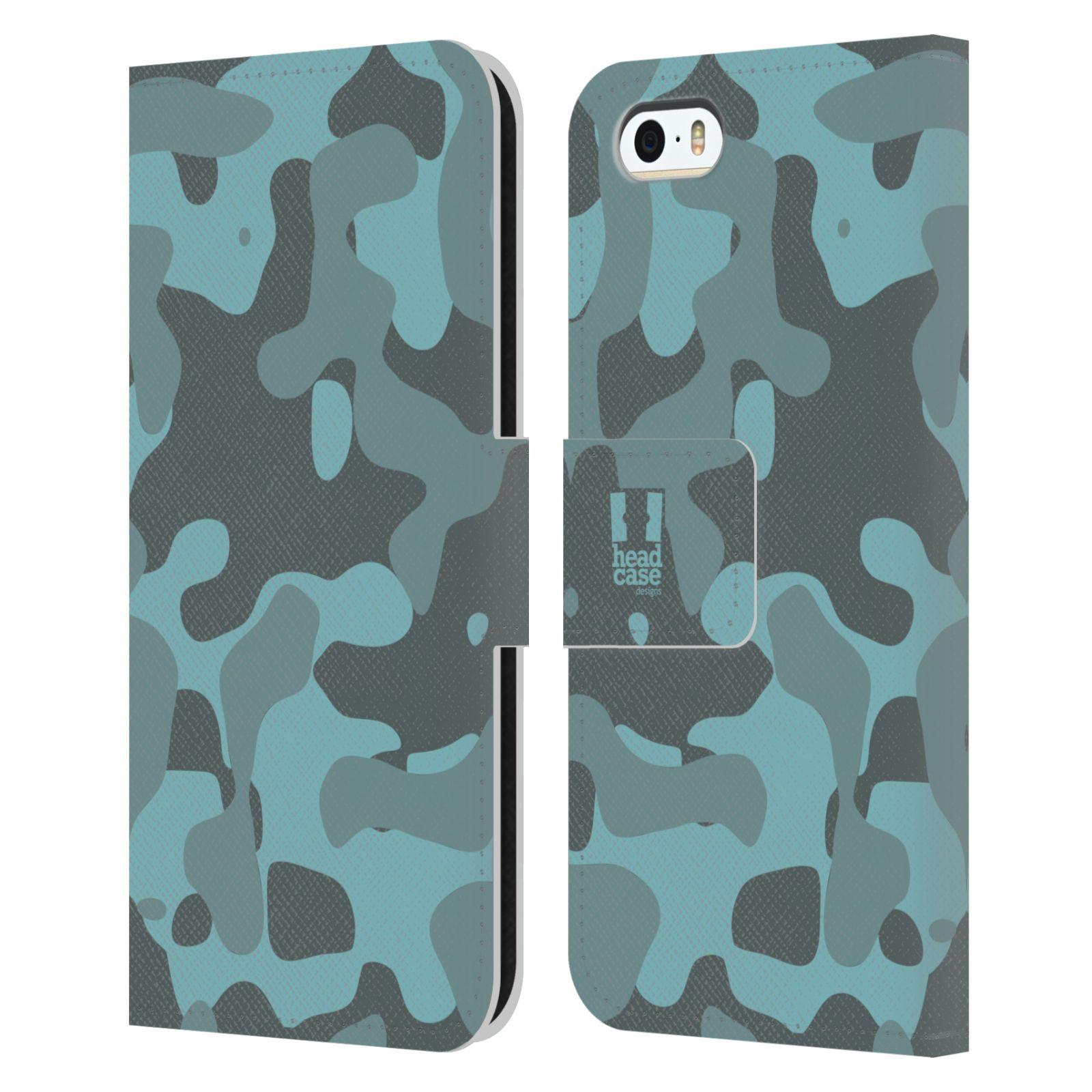 HEAD CASE Flipové pouzdro pro mobil Apple Iphone 5/5s lehká barevná kamufláž modrá