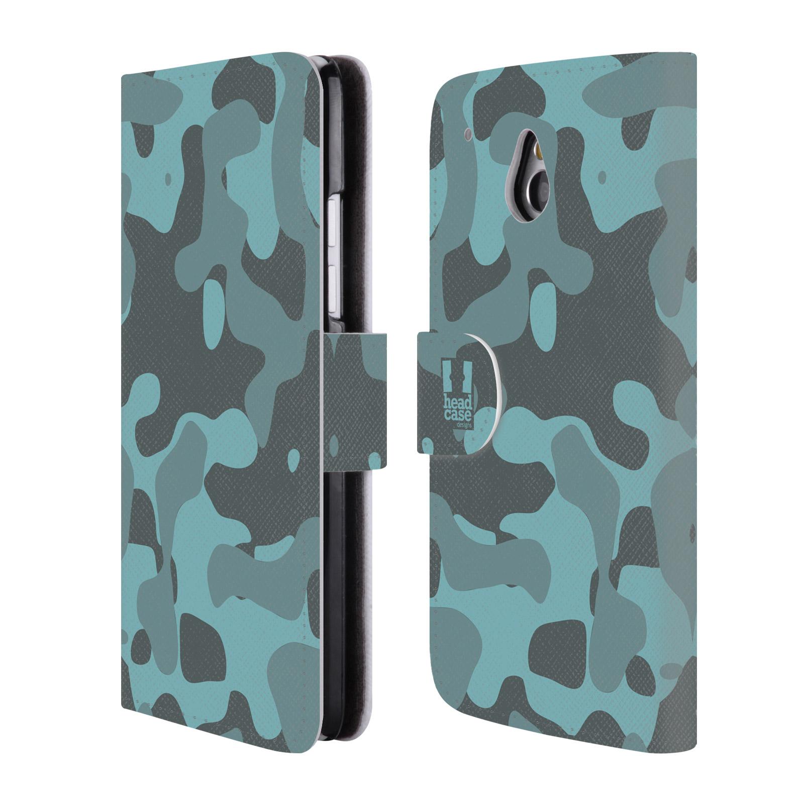 HEAD CASE Flipové pouzdro pro mobil HTC ONE MINI (M4) lehká barevná kamufláž modrá