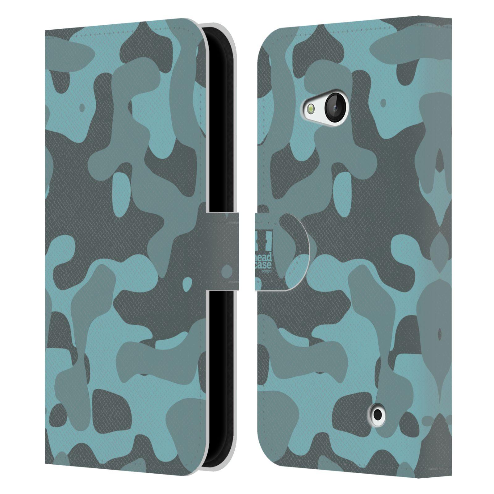 HEAD CASE Flipové pouzdro pro mobil NOKIA / MICROSOFT LUMIA 640 / LUMIA 640 DUAL lehká barevná kamufláž modrá