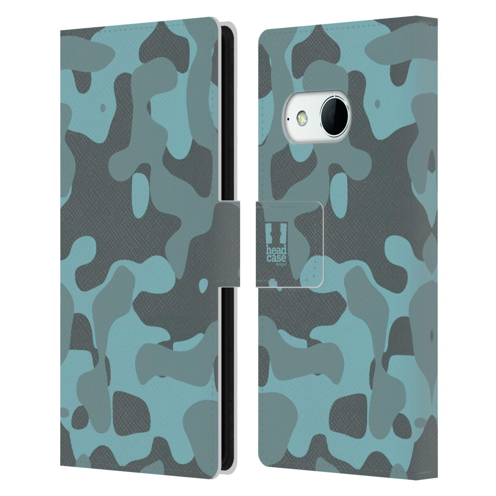 HEAD CASE Flipové pouzdro pro mobil HTC ONE MINI 2 (M8) lehká barevná kamufláž modrá
