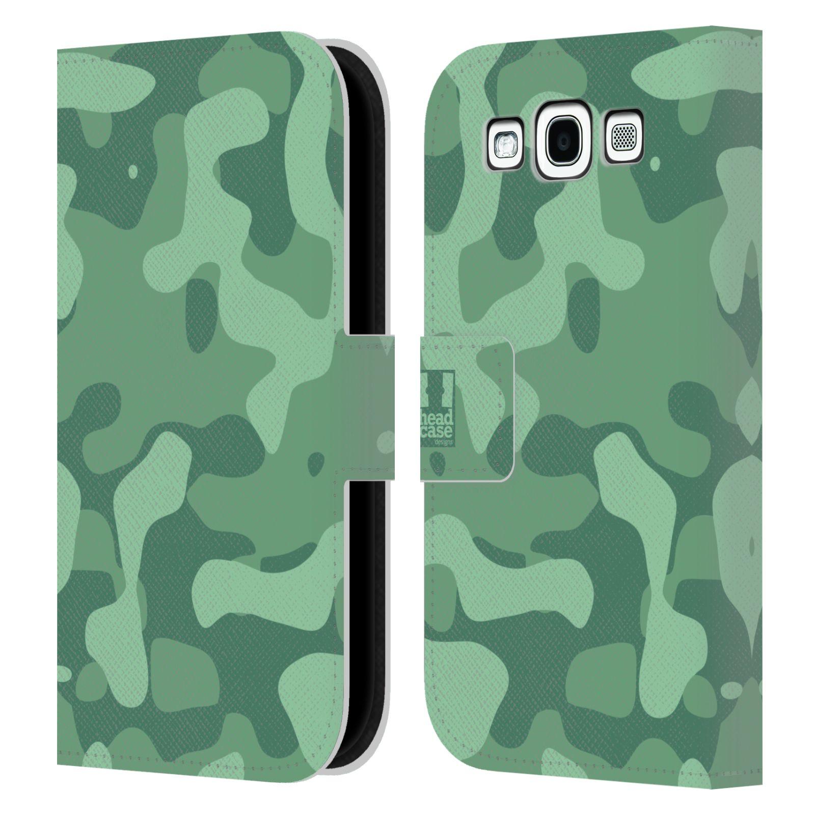 HEAD CASE Flipové pouzdro pro mobil Samsung Galaxy S3 lehká barevná kamufláž mentol zelená