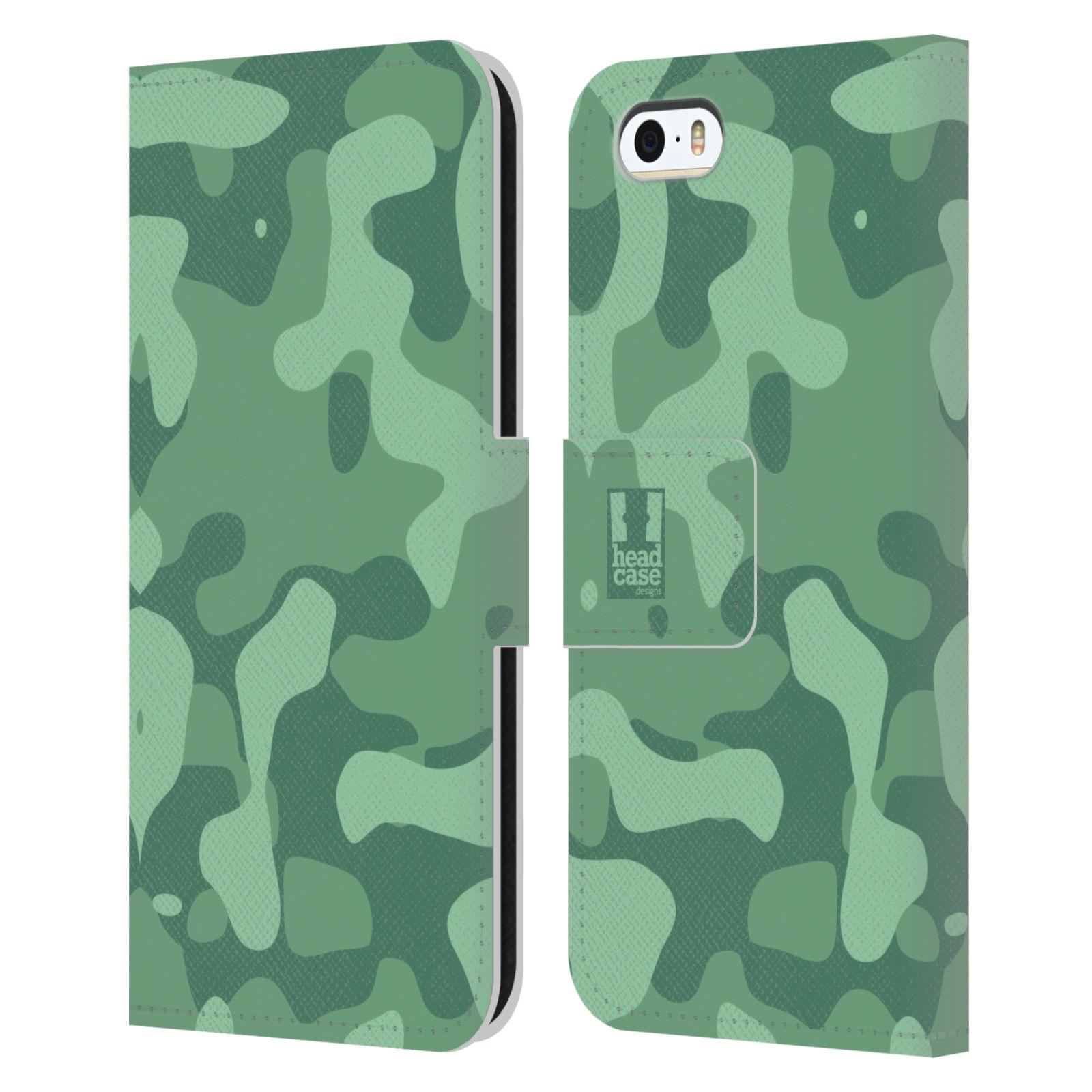 HEAD CASE Flipové pouzdro pro mobil Apple Iphone 5/5s lehká barevná kamufláž mentol zelená
