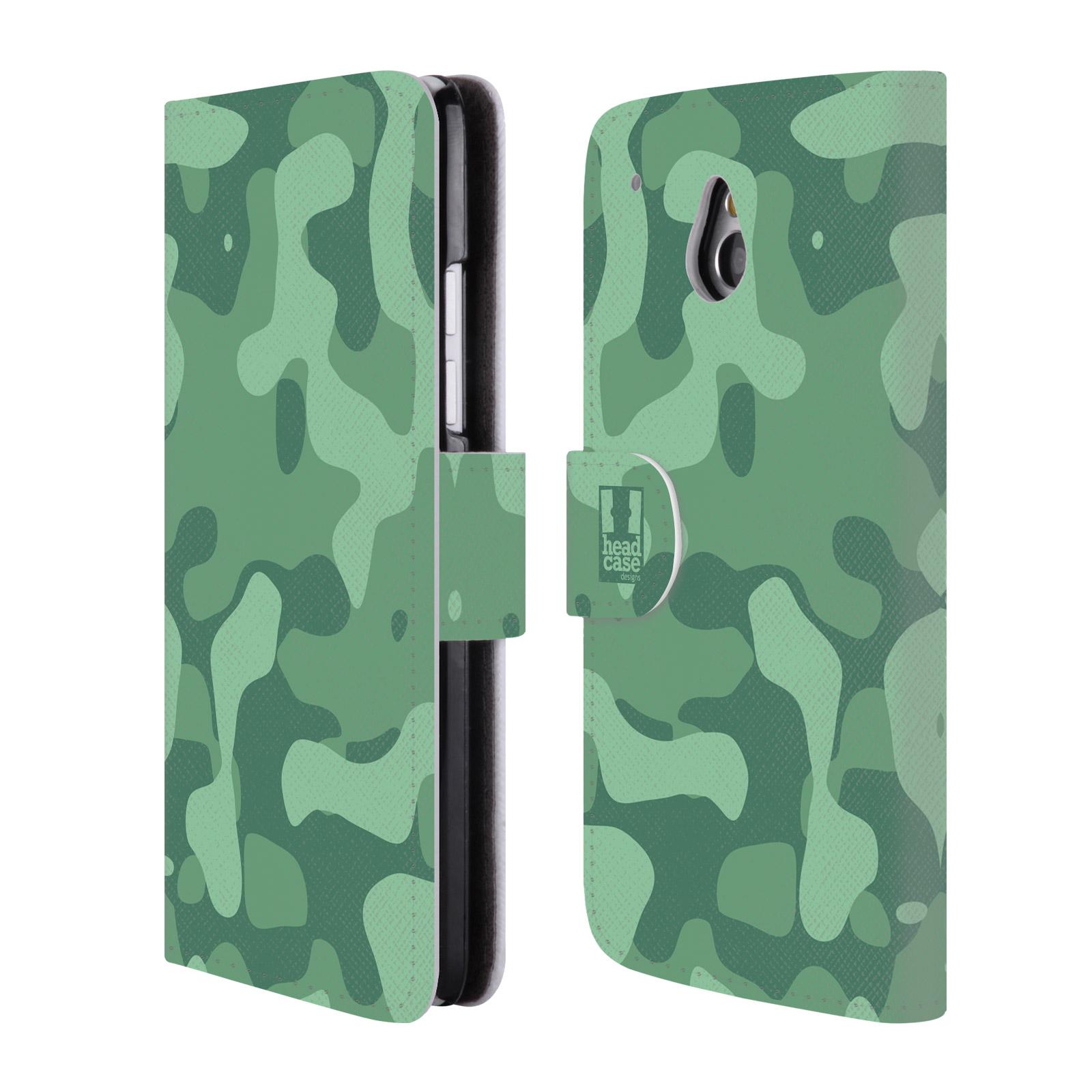 HEAD CASE Flipové pouzdro pro mobil HTC ONE MINI (M4) lehká barevná kamufláž mentol zelená