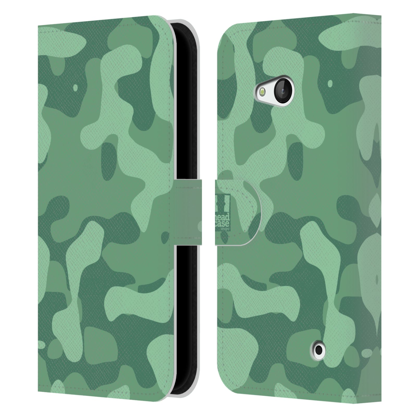 HEAD CASE Flipové pouzdro pro mobil NOKIA / MICROSOFT LUMIA 640 / LUMIA 640 DUAL lehká barevná kamufláž mentol zelená