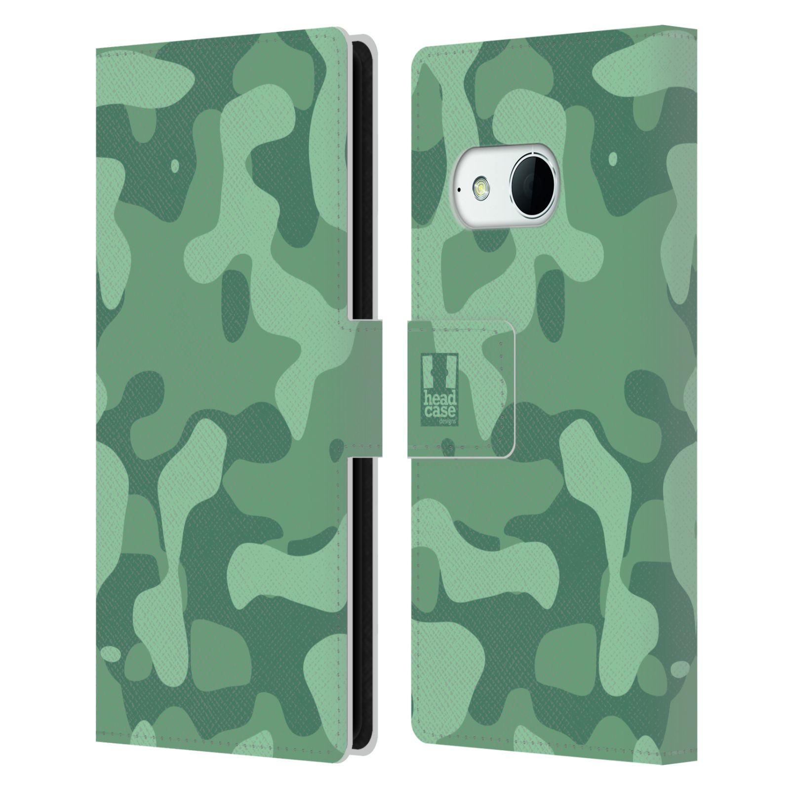 HEAD CASE Flipové pouzdro pro mobil HTC ONE MINI 2 (M8) lehká barevná kamufláž mentol zelená