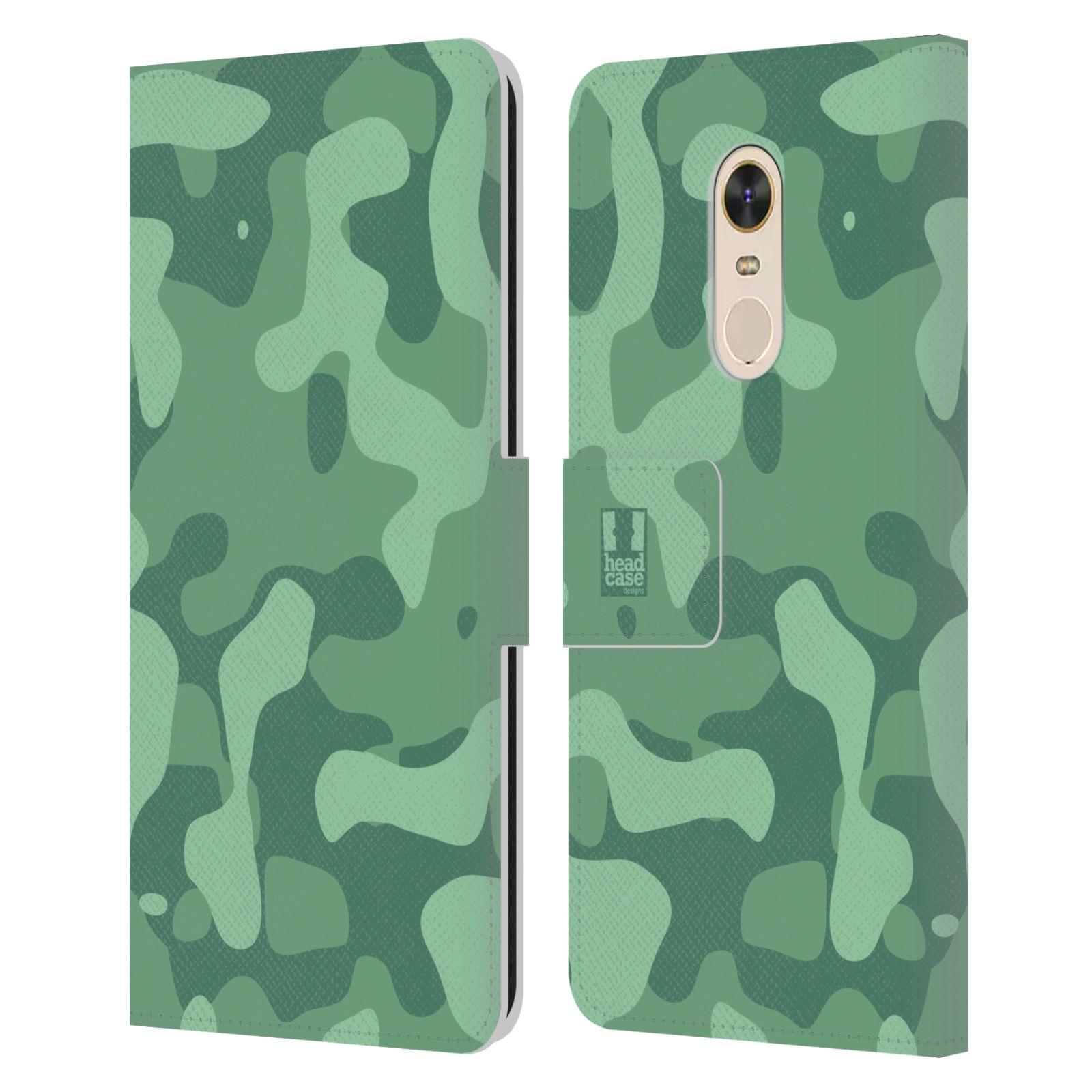 HEAD CASE Flipové pouzdro pro mobil Xiaomi Redmi Note 5 lehká barevná kamufláž mentol zelená