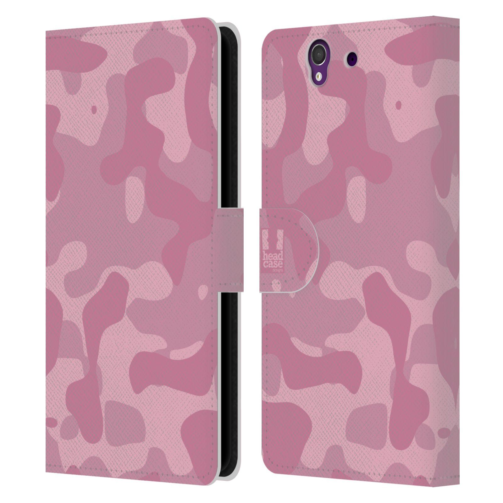 HEAD CASE Flipové pouzdro pro mobil SONY XPERIA Z (C6603) lehká barevná kamufláž růžová