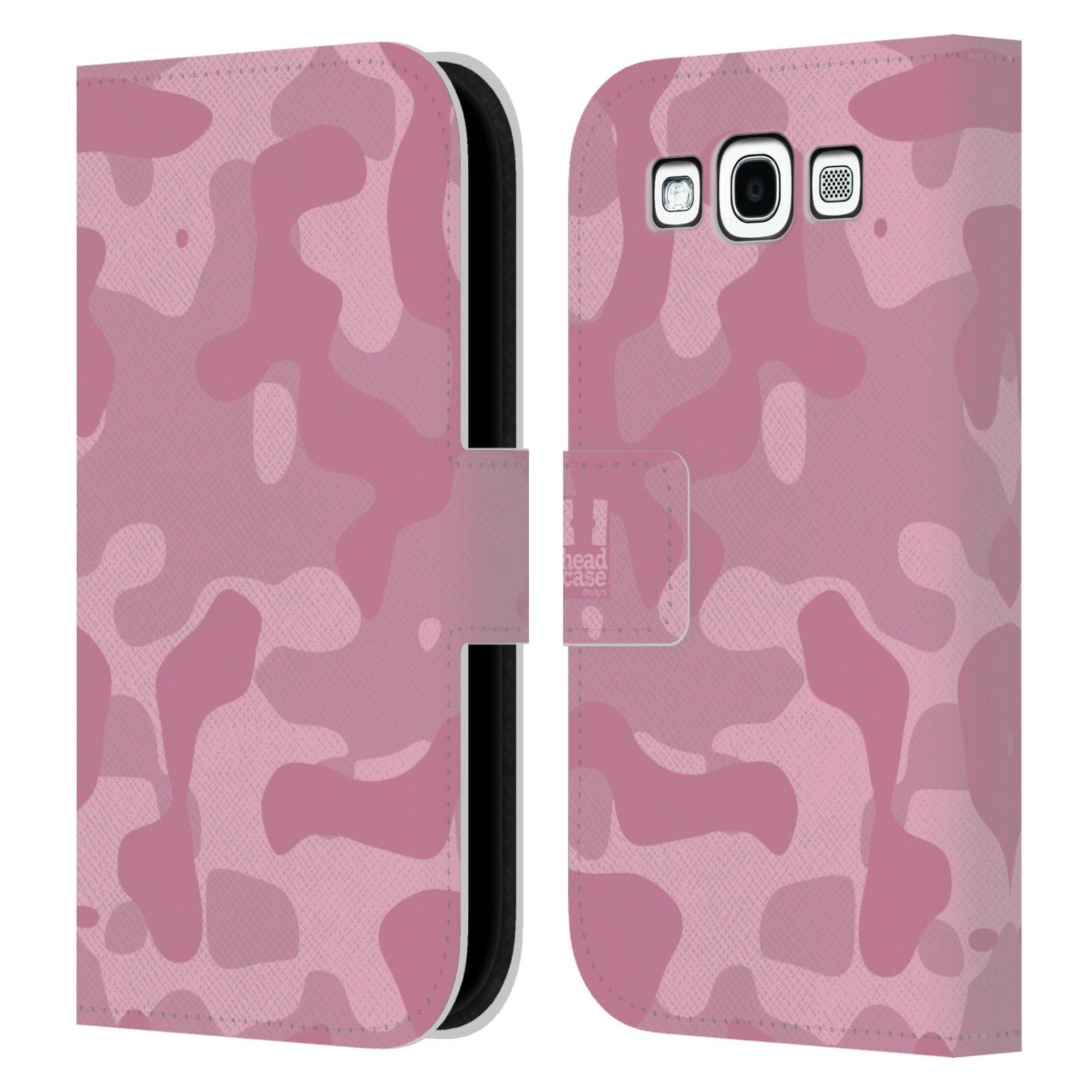 HEAD CASE Flipové pouzdro pro mobil Samsung Galaxy S3 lehká barevná kamufláž růžová